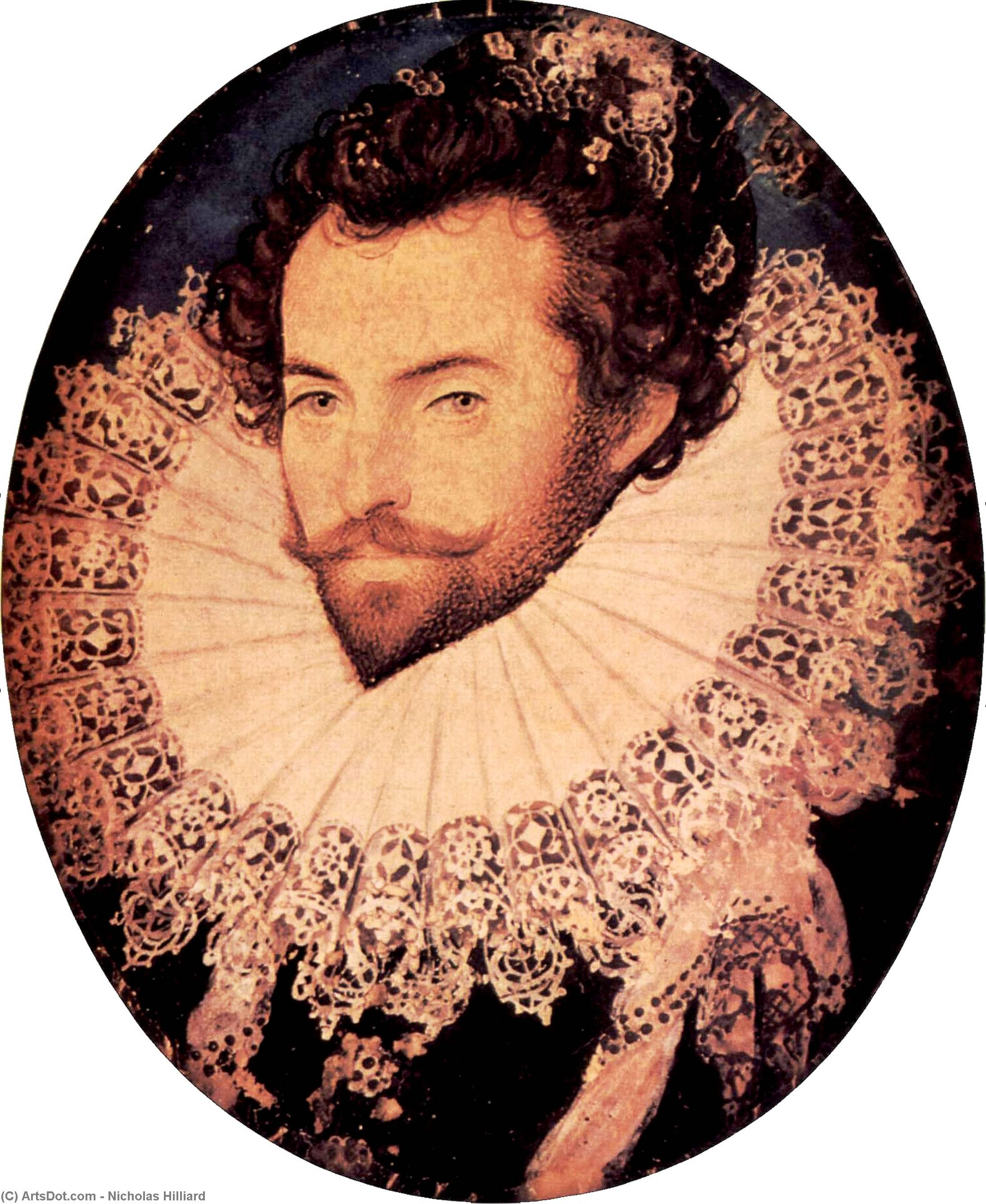 Monsieur walter raleigh de Nicholas Hilliard (1577-1619, United Kingdom) | Reproductions De Qualité Musée | ArtsDot.com