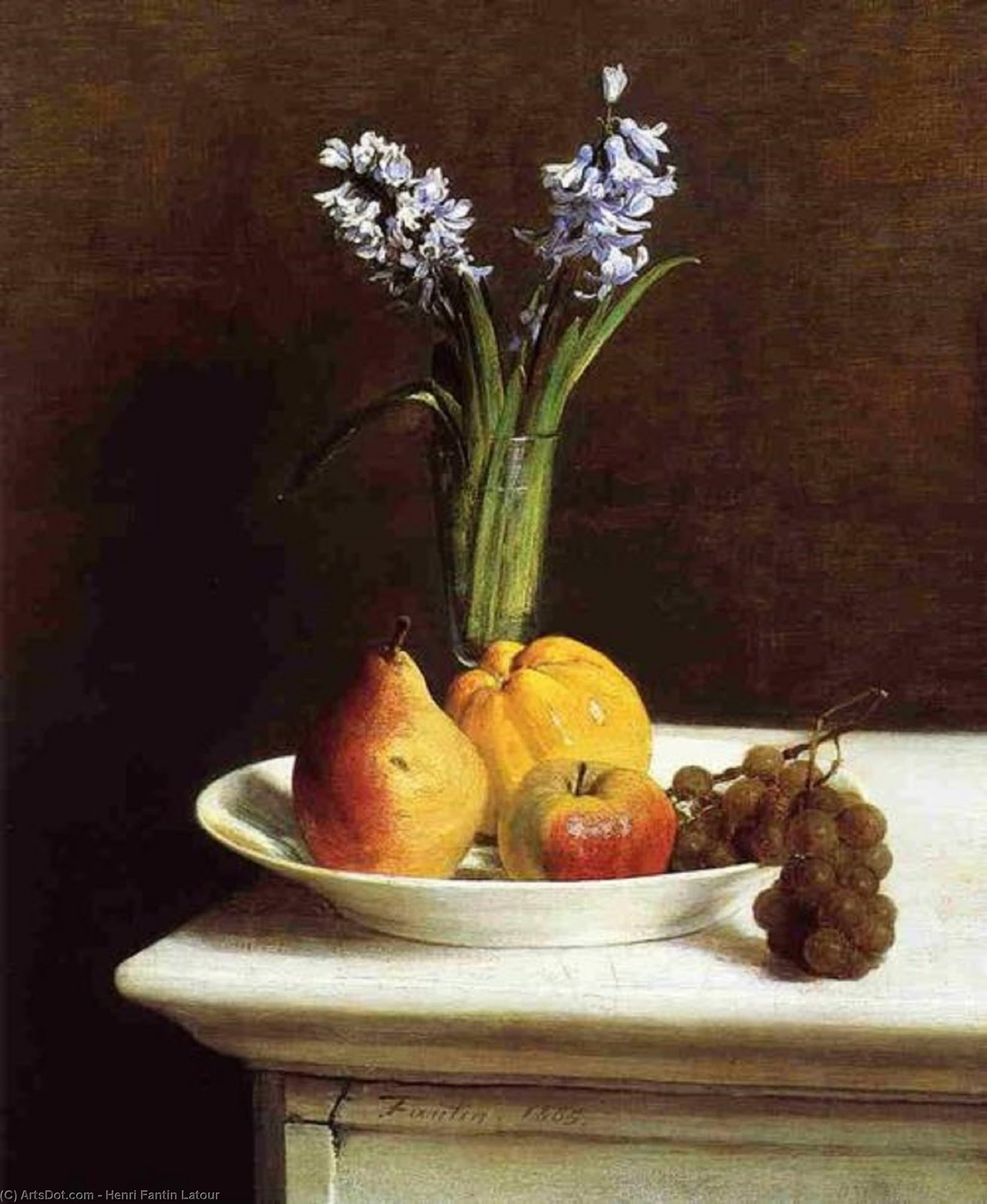 Nature Morte Jacinthes  et  fruits , Huile de Henri Fantin Latour (1836-1904, France)