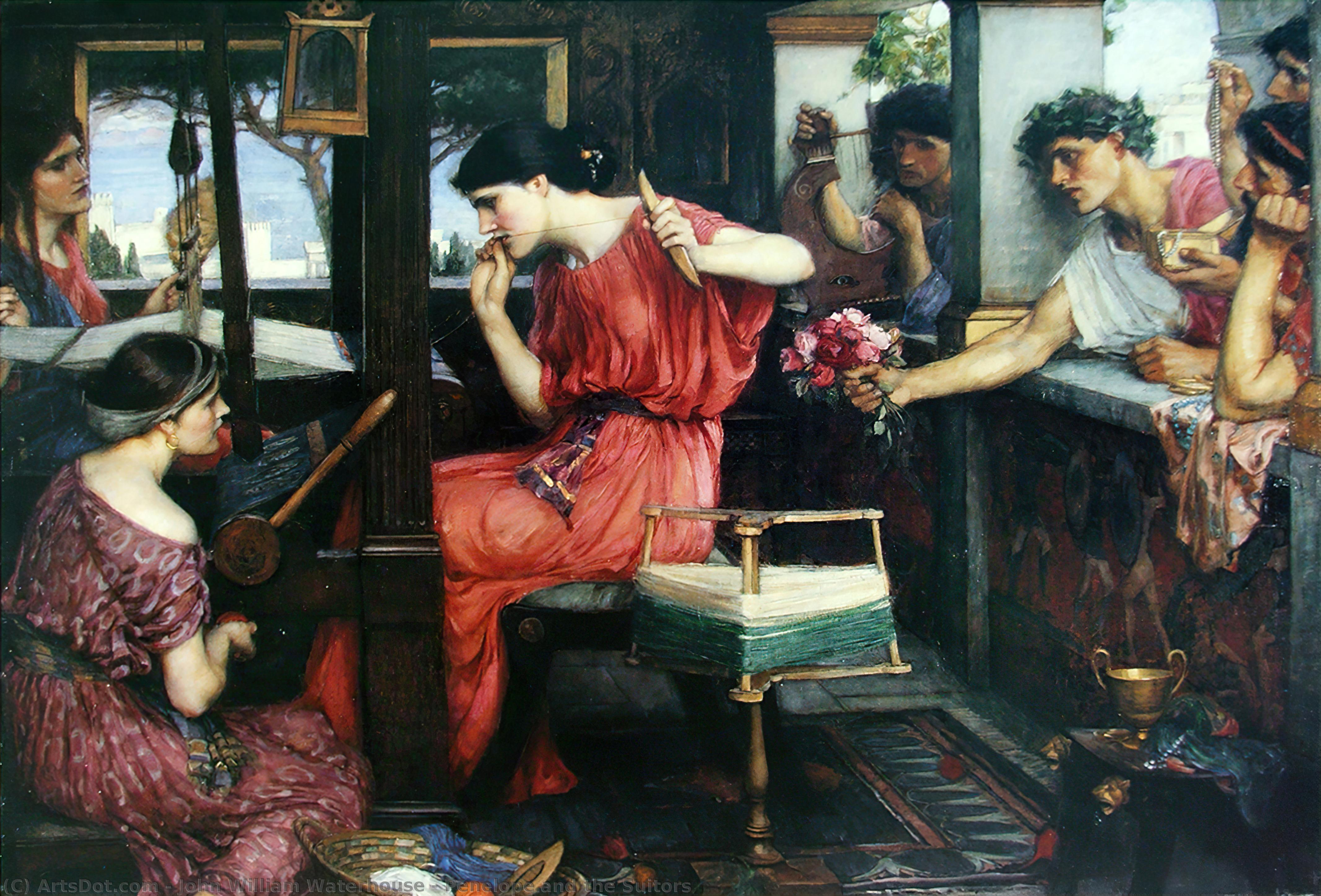 Pénélope et les prétendants, 1912 de John William Waterhouse (1849-1917, Italy) | Reproductions D'œuvres D'art John William Waterhouse | ArtsDot.com