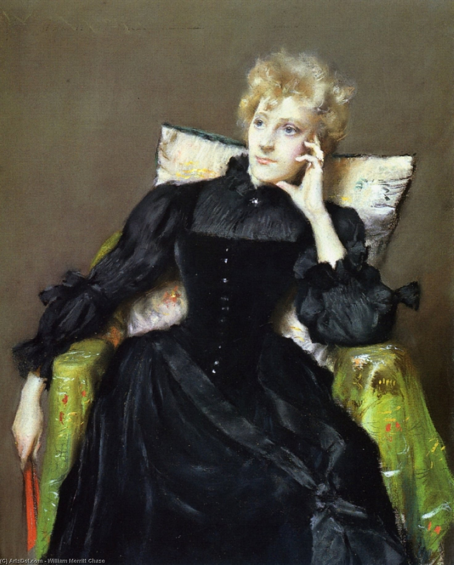 femme assise en noir robe, Pastel sec de William Merritt Chase (1849-1916, United States)