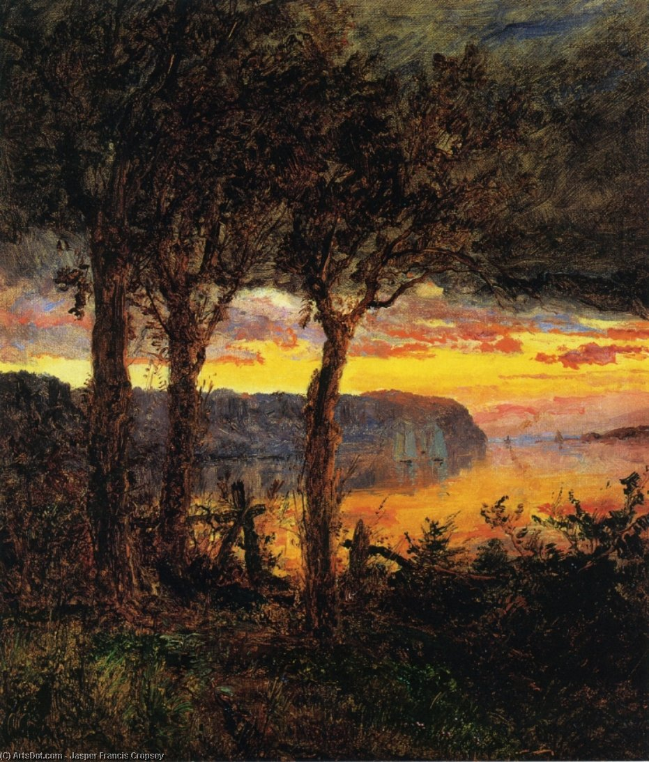 Palisades face Hastings-on-Hudson, huile sur toile de Jasper Francis Cropsey (1823-1900, United States)
