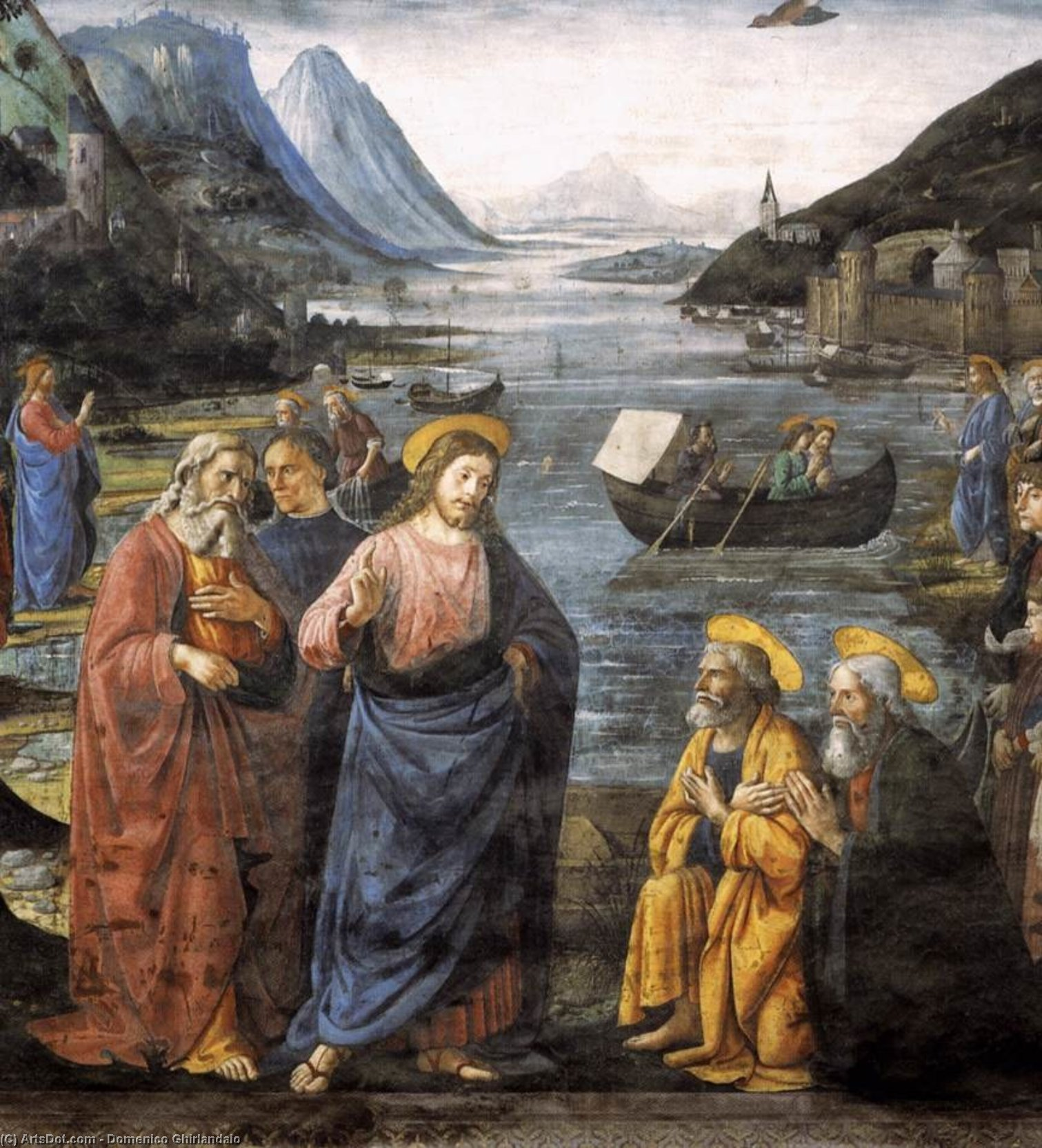 vocation de  au  apôtres  détail , fresques de Domenico Ghirlandaio (1449-1494, Italy)