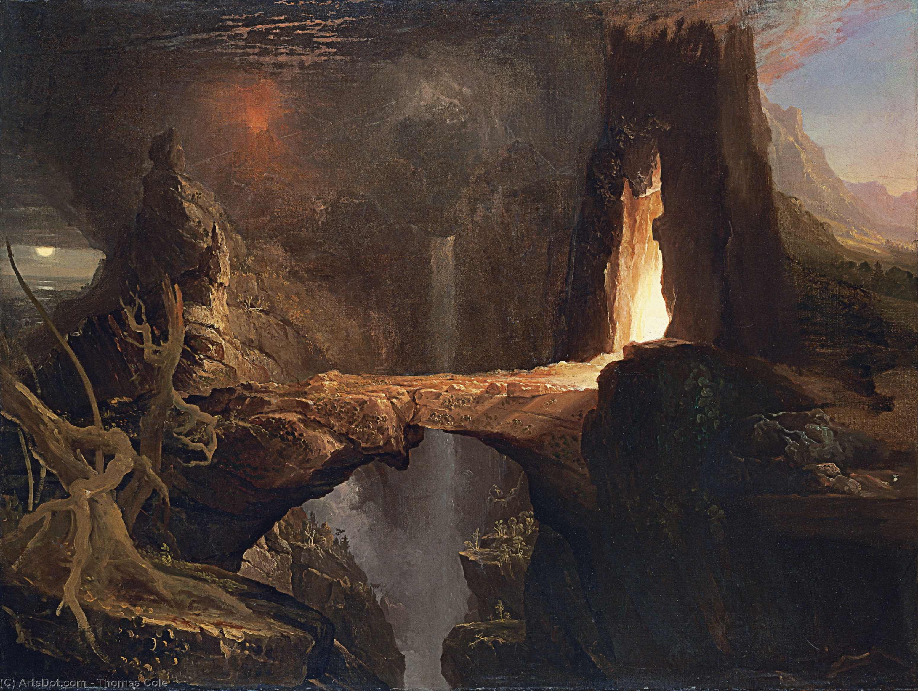 Expulsion , lune et firelight, huile sur toile de Thomas Cole (1801-1848, United Kingdom)