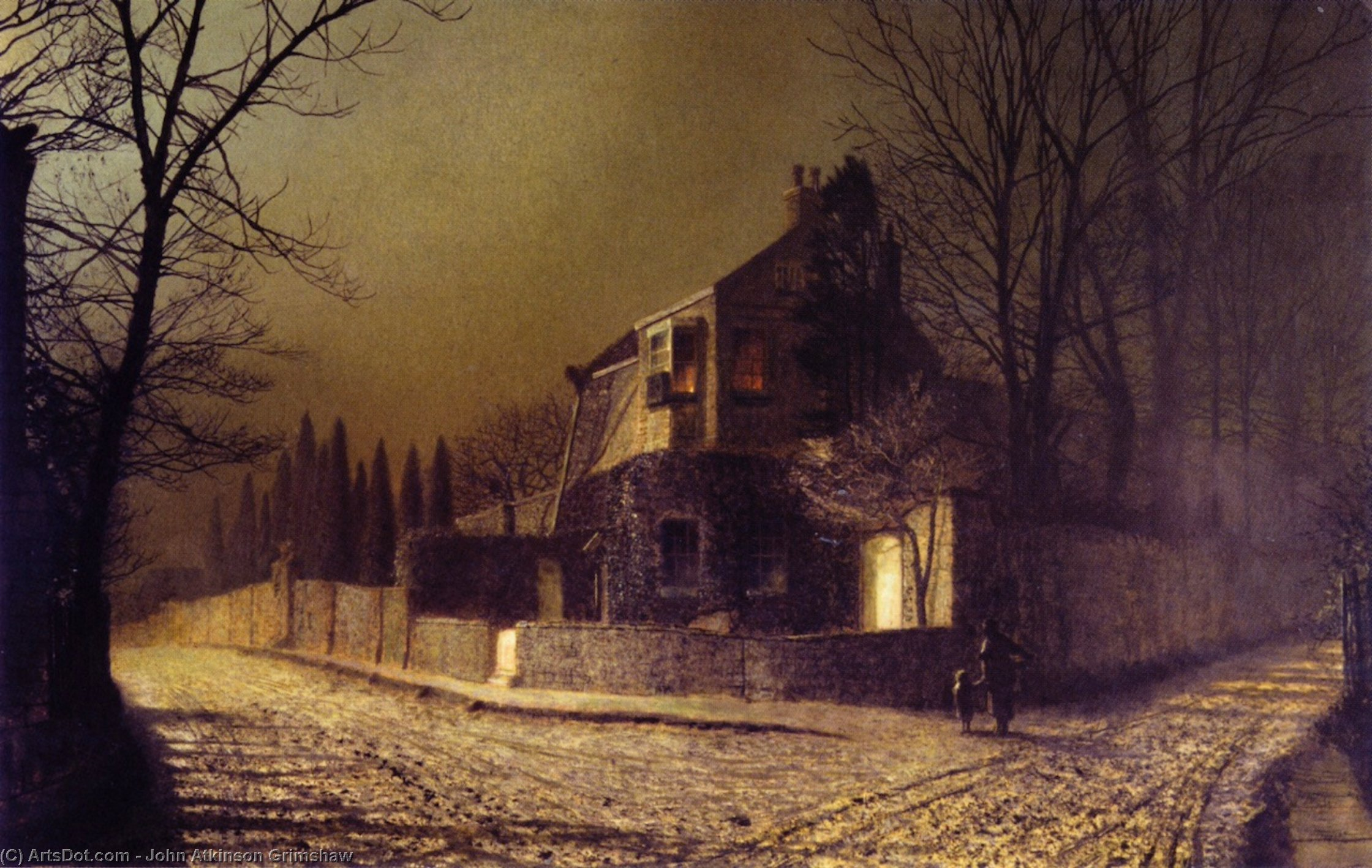 Bois d`if Cour , Scalby , près de scarborough, 1875 de John Atkinson Grimshaw (1836-1893, United Kingdom) | Reproduction Peinture | ArtsDot.com