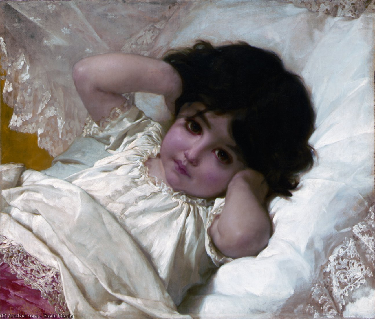 portrait de marie louise, 1880 de Emile Munier (1840-1895, France)