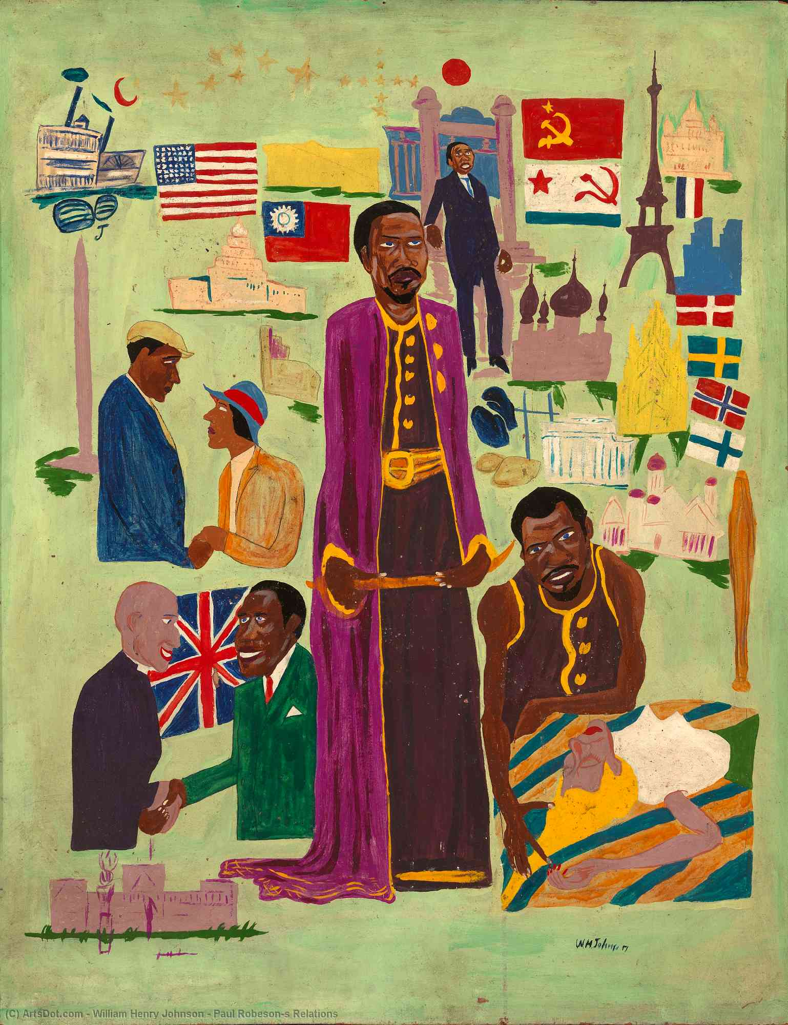 Paul Robeson`s Rapports, 1945 de William Henry Johnson (1901-1970, United States) | Reproduction Peinture | ArtsDot.com
