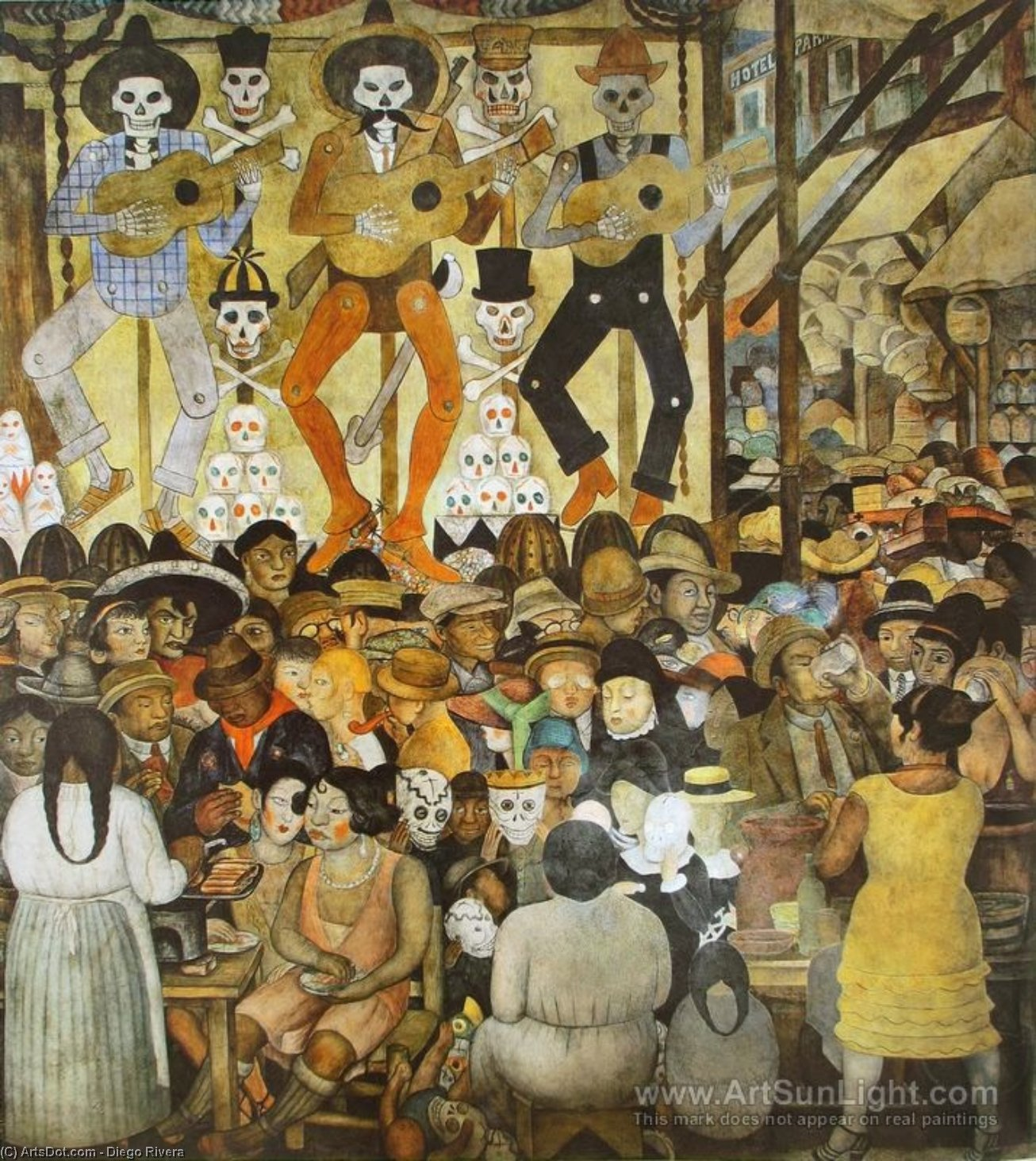 la journée de l' mort, fresques de Diego Rivera (1886-1957, Mexico)