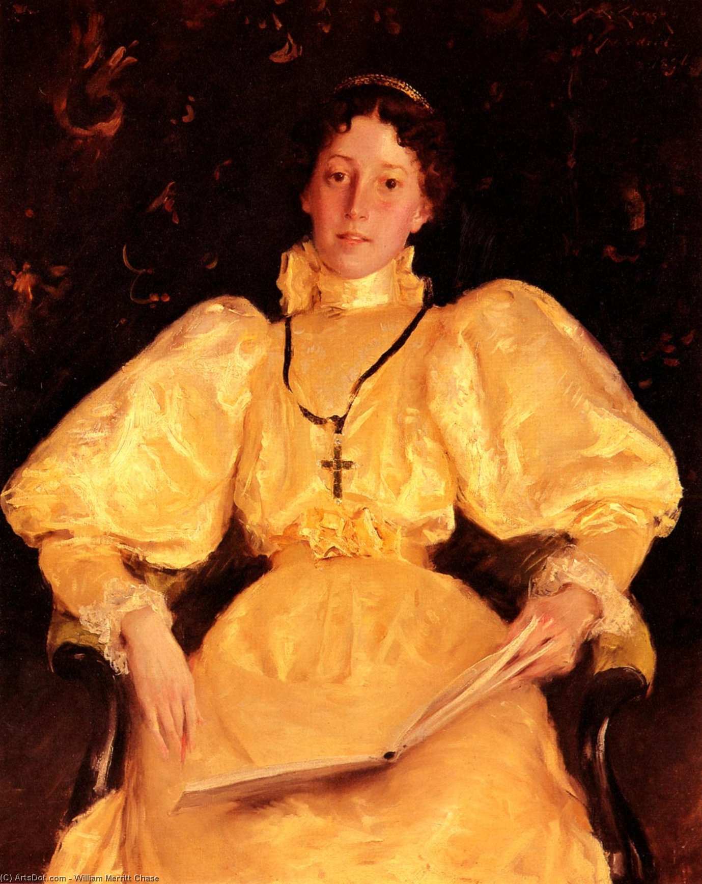 La Dame d or, huile sur toile de William Merritt Chase (1849-1916, United States)