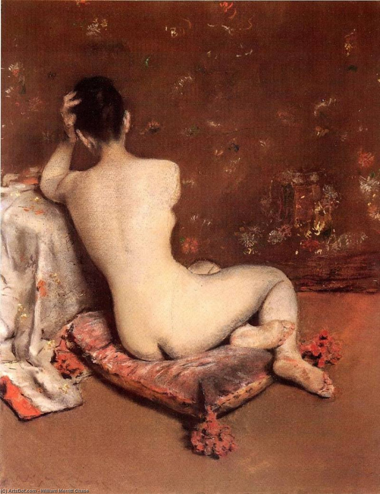 le modèle, Pastel sec de William Merritt Chase (1849-1916, United States)