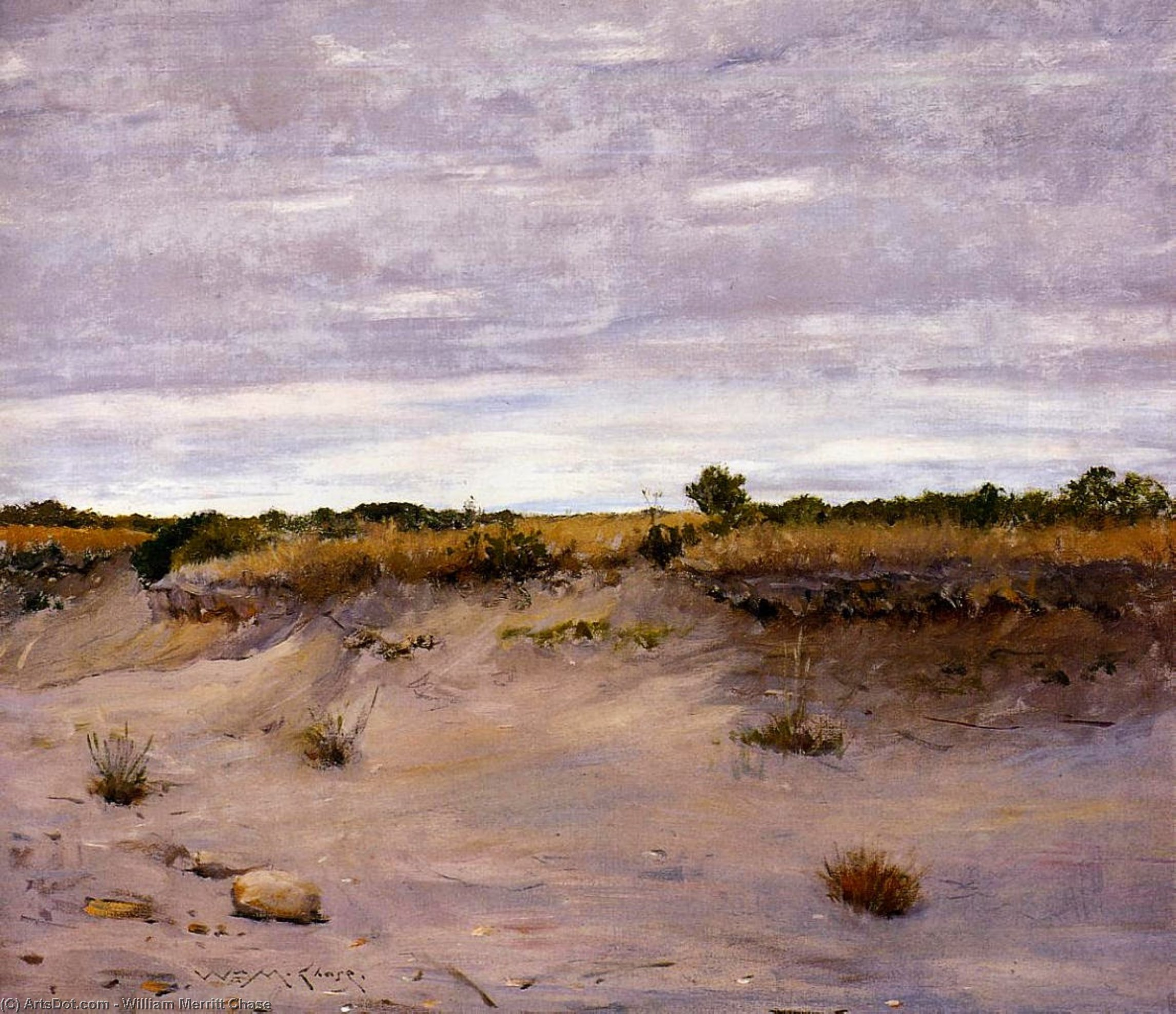 vent sands swept , Shinnecock , long île, huile sur toile de William Merritt Chase (1849-1916, United States)