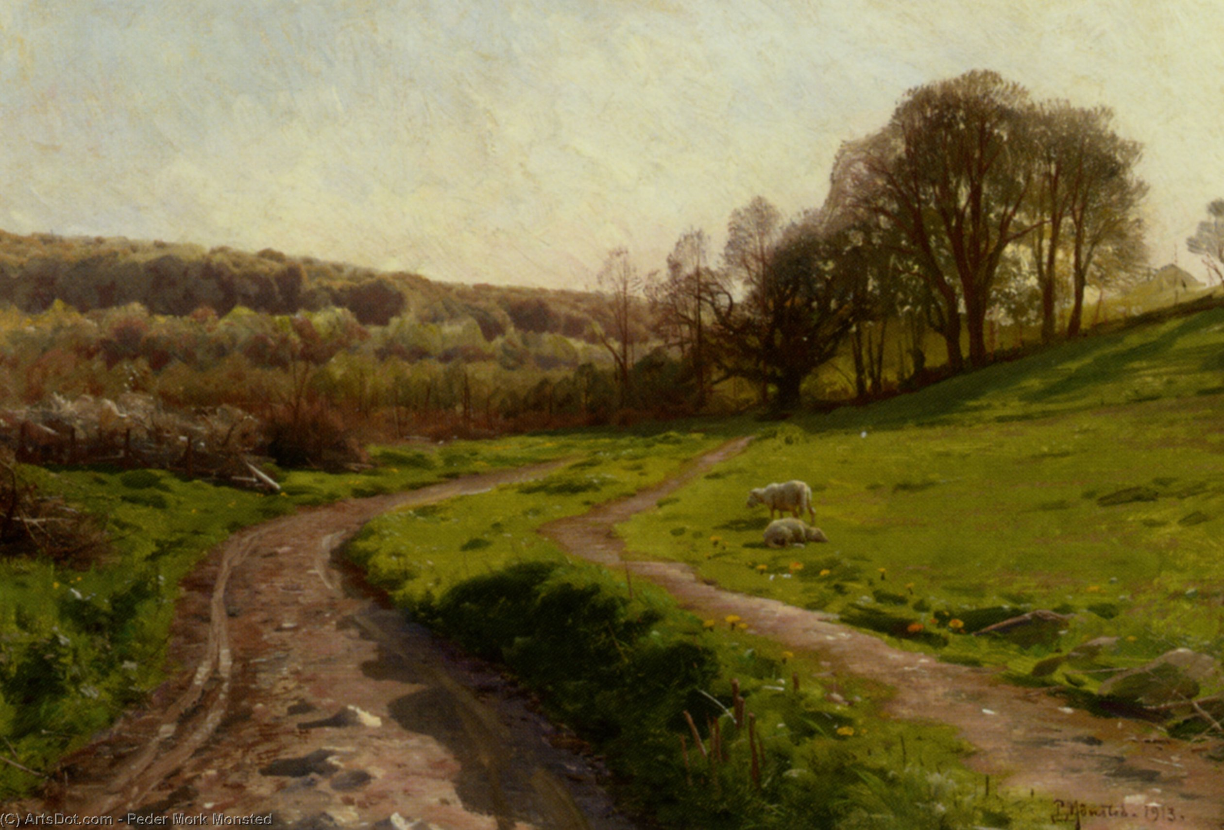Un pays terrain  de Peder Mork Monsted (1859-1941, Denmark) | Reproduction Peinture | ArtsDot.com