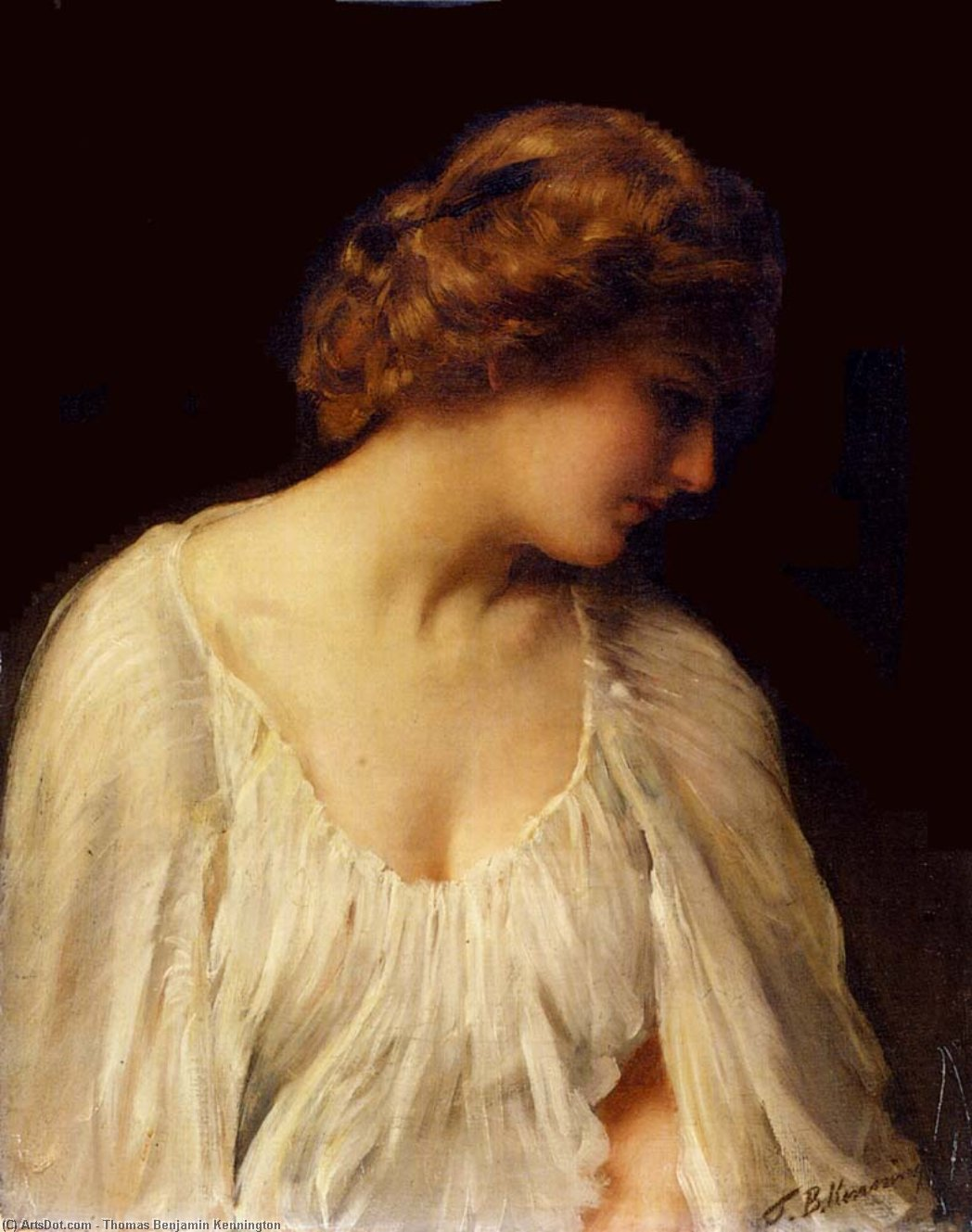 la contemplation de Thomas Benjamin Kennington (1856-1916, United Kingdom)