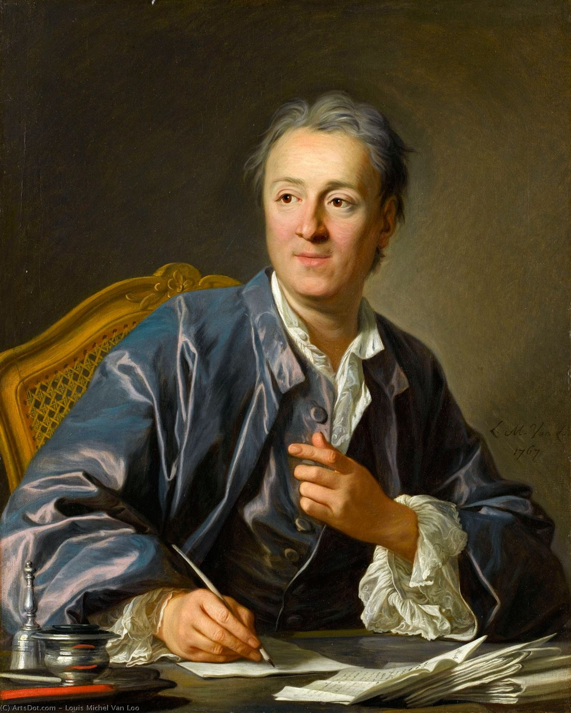Portrait de denis diderot, 1767 de Louis Michel Van Loo (1707-1771, France) | Copie Tableau | ArtsDot.com