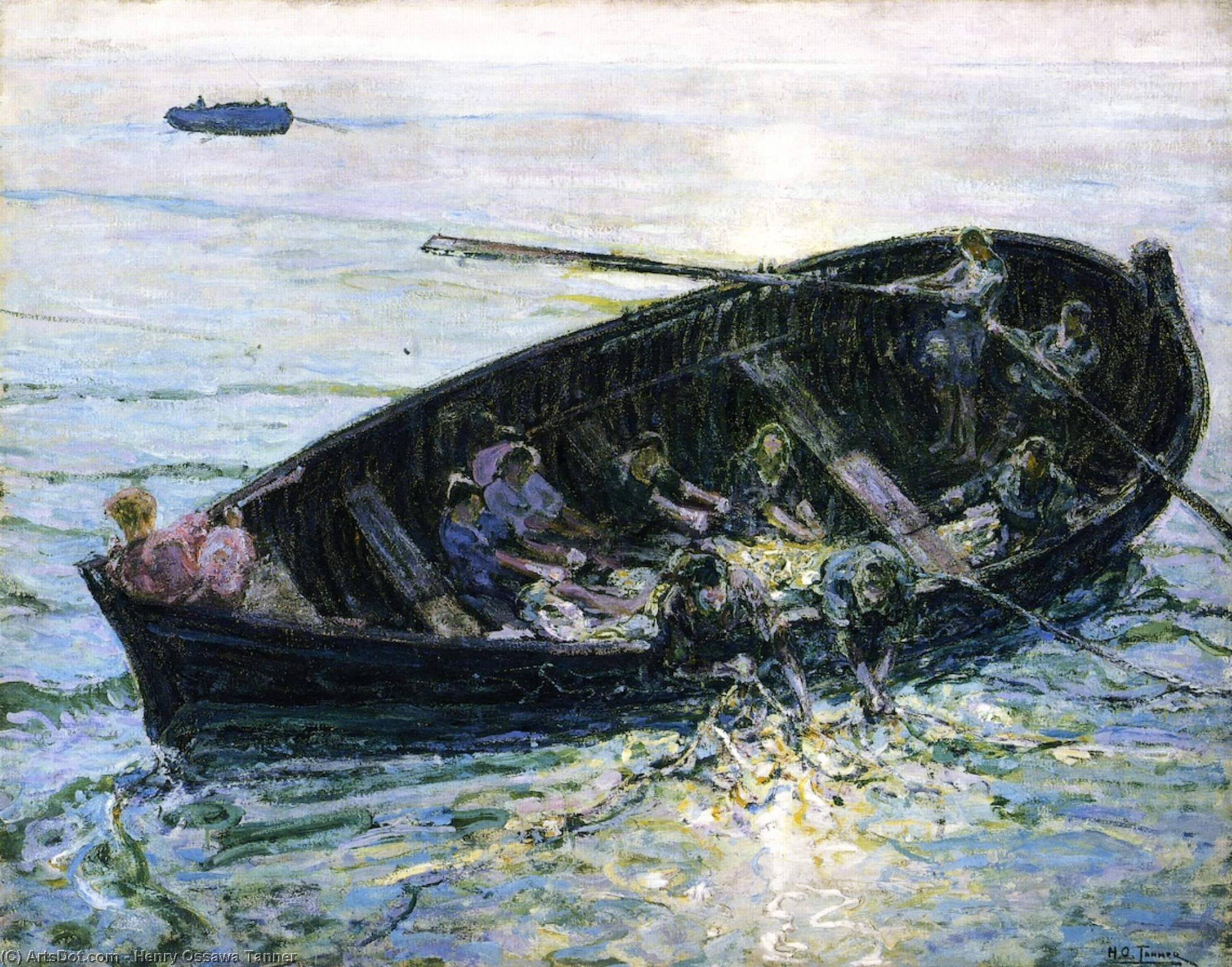 miraculeux tirer  de  poissons , huile sur toile de Henry Ossawa Tanner (1859-1937, United States)