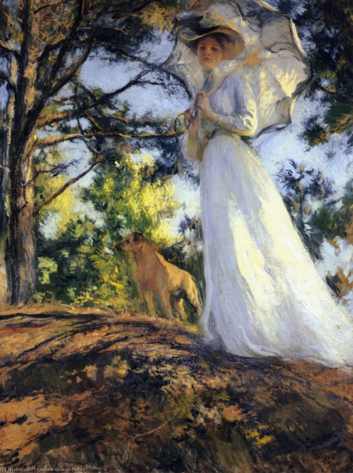Sur Bos'n's Colline, huile sur toile de Edmund Charles Tarbell (1862-1938, United States)