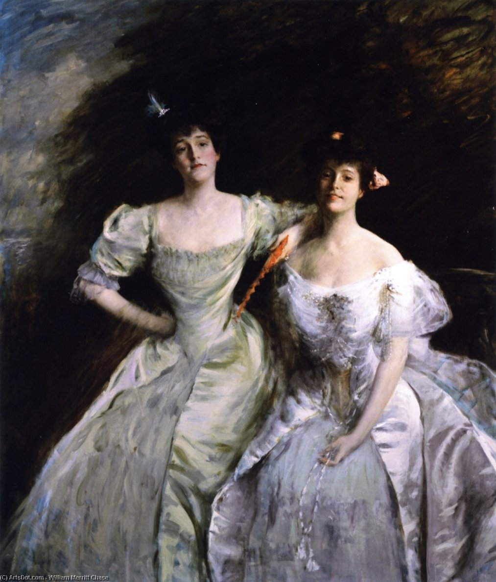 les sœurs ( également connu sous le nom les sœurs - Mme . Sullivan et mrs . oskar livingston , les sœurs - Mme . oskar livingston et mrs . james francis sullivan ), huile sur toile de William Merritt Chase (1849-1916, United States)