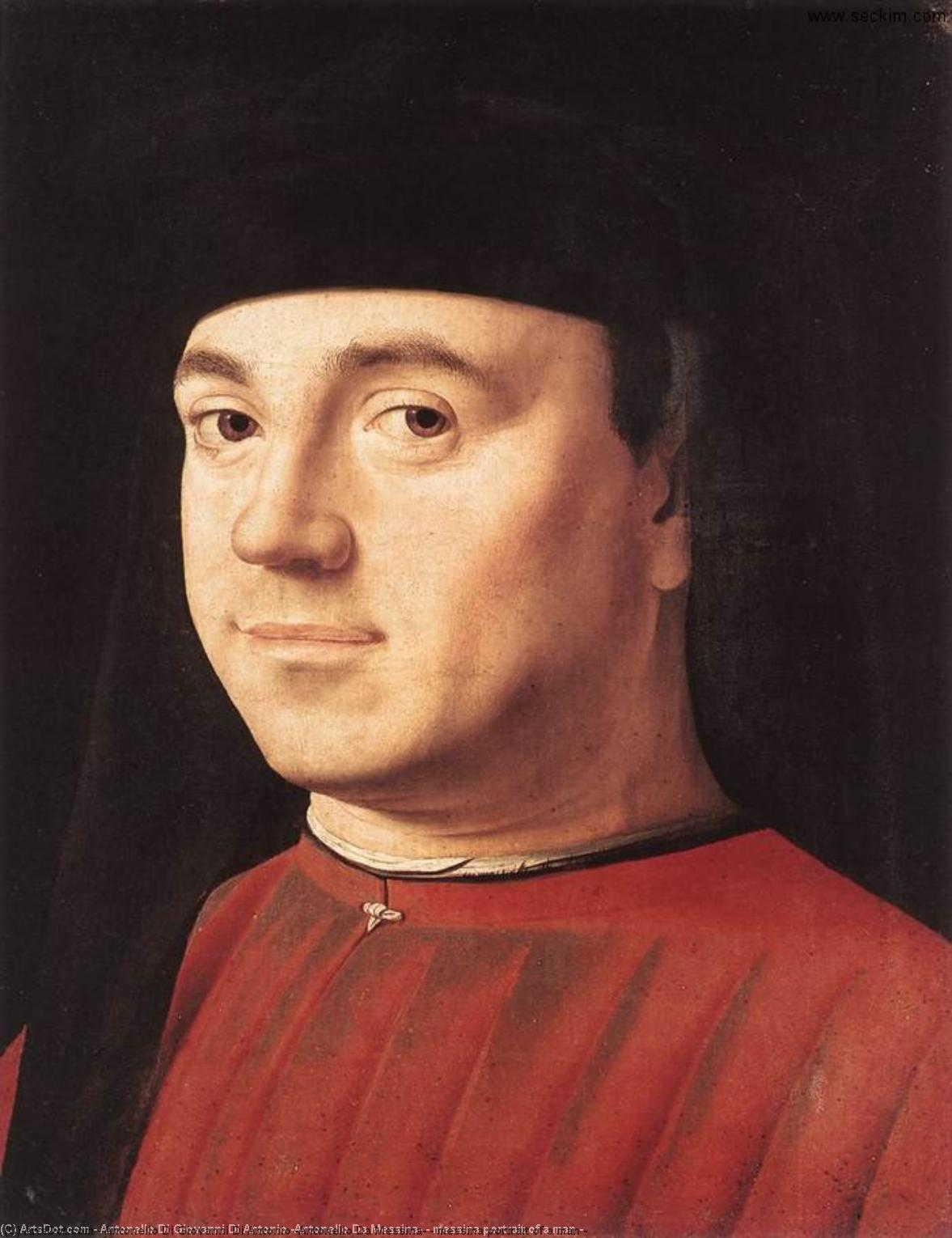 Messine Portrait  de  une  Homme  -  , 1475 de Antonello Di Giovanni Di Antonio (Antonello Da Messina) (1430-1479, Italy) | Reproduction Peinture | ArtsDot.com