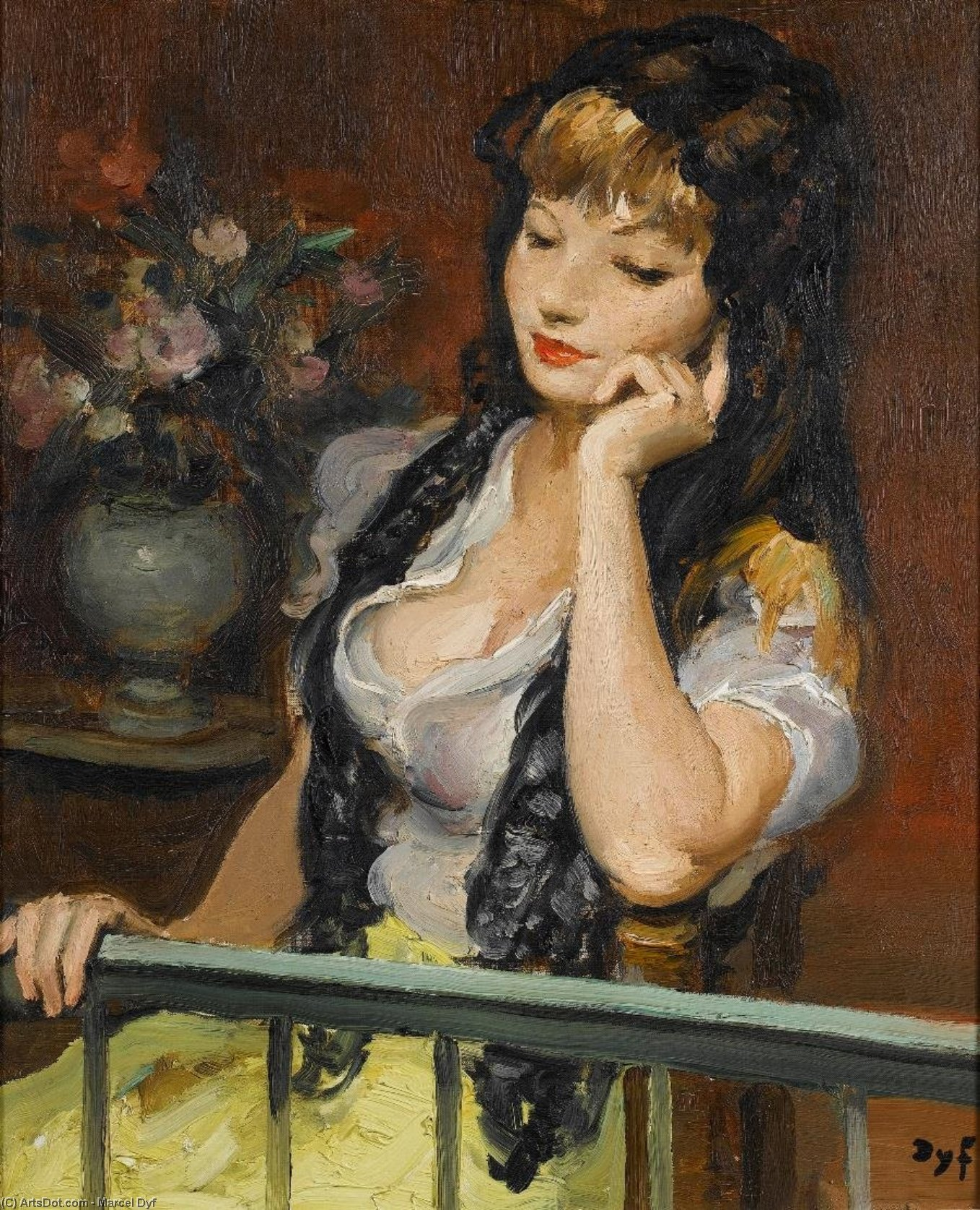 A Moment Pensive de Marcel Dyf (1899-1985, France) | Reproduction Peinture | ArtsDot.com