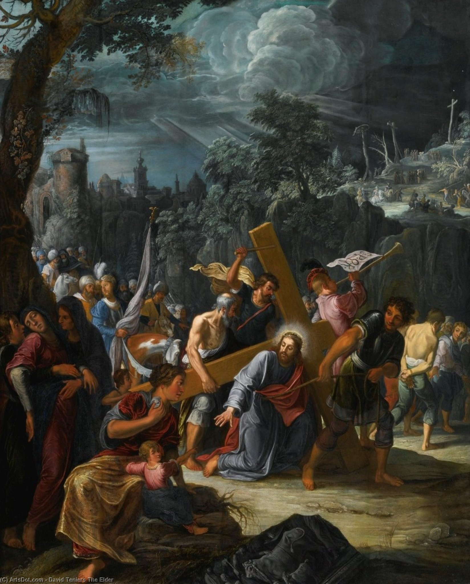 Christ sur la route à  cavalerie  de David Teniers The Elder (1582-1649, Belgium)