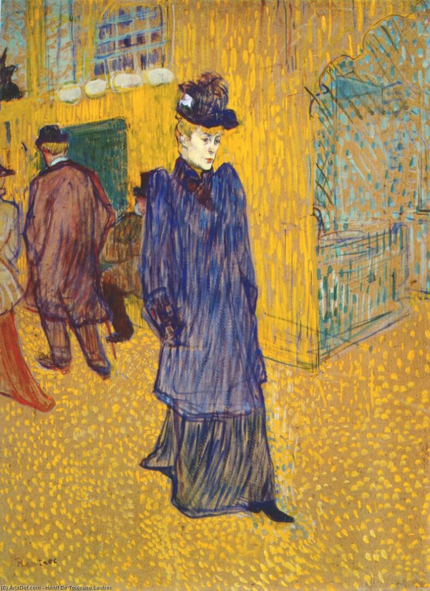 Jane Avril laissant le Moulin Rouge, Huile de Henri De Toulouse Lautrec (1864-1901, France)