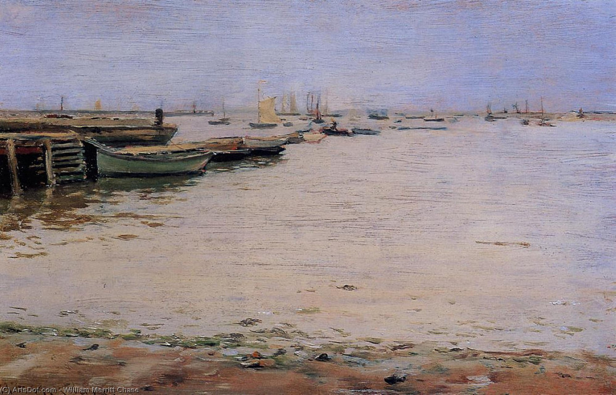 gowanus bay aka misty jour , Gowanus Baie, Huile de William Merritt Chase (1849-1916, United States)