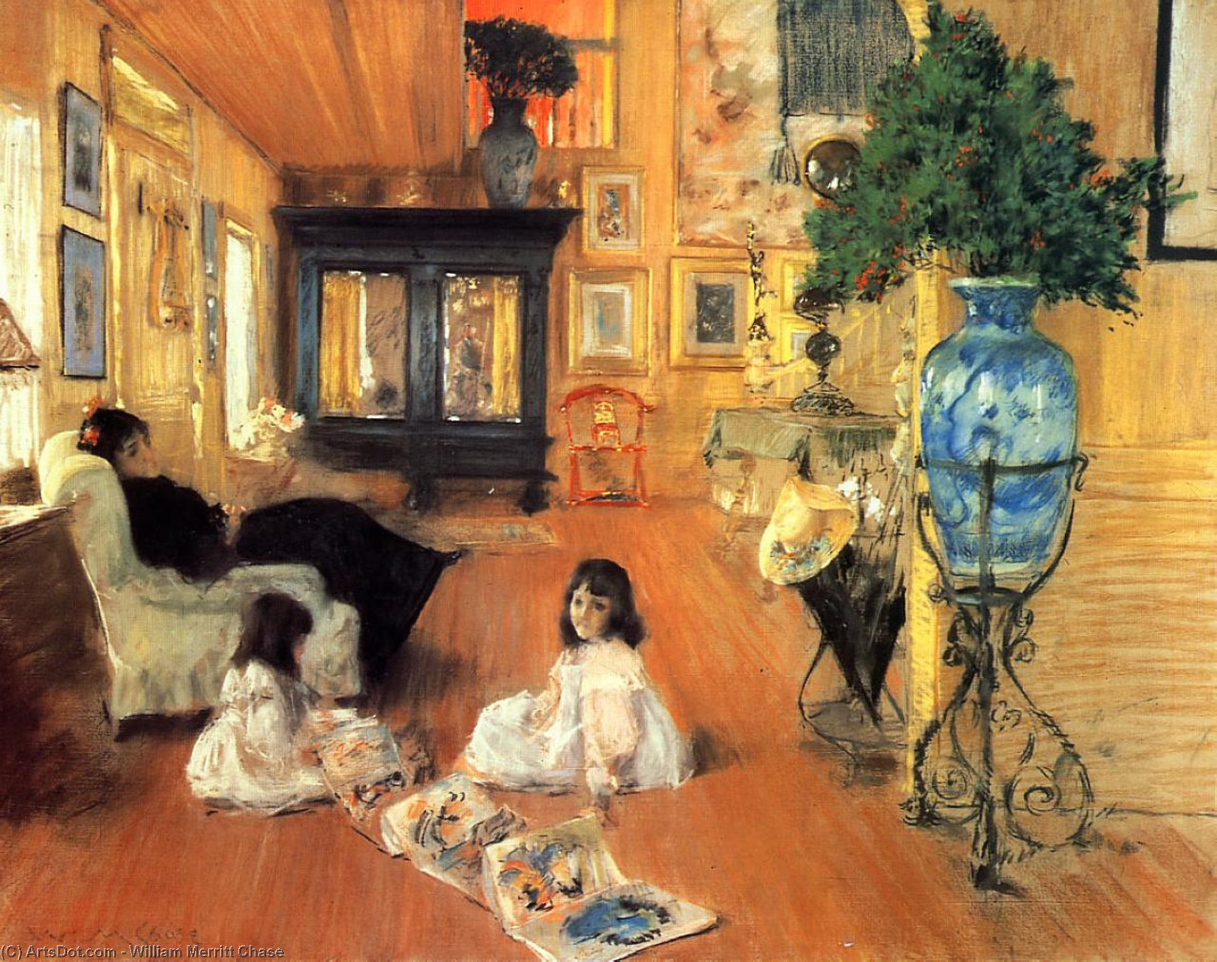 Salle à Shinnecock, Pastel sec de William Merritt Chase (1849-1916, United States)