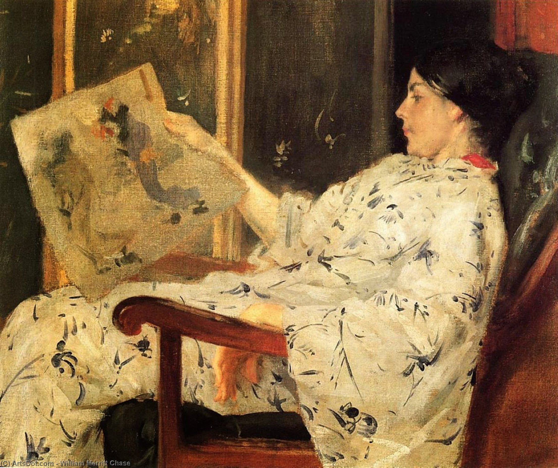 Japonaise Imprimer, Huile de William Merritt Chase (1849-1916, United States)