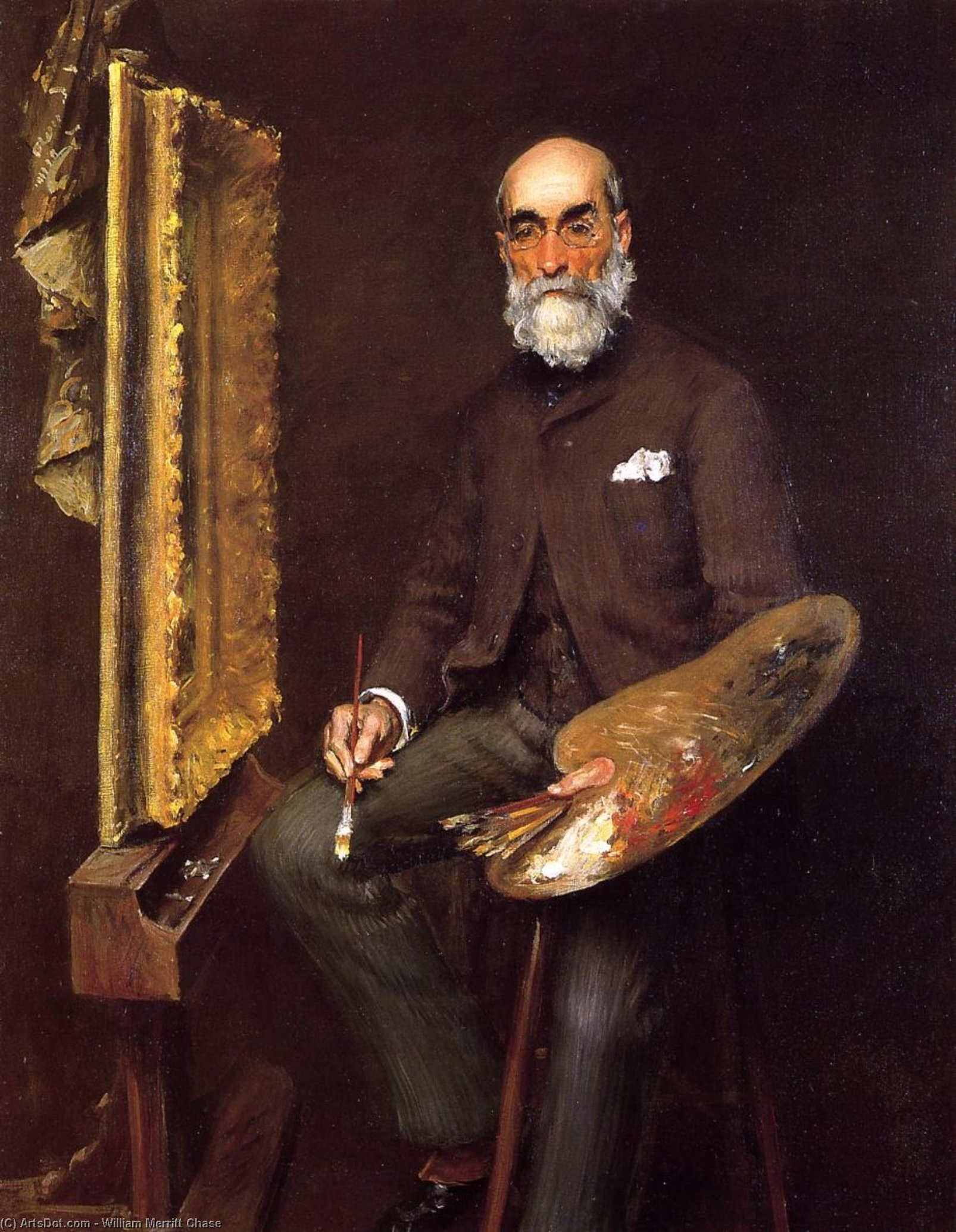 Portrait de Worthington Whittredge, huile sur toile de William Merritt Chase (1849-1916, United States)