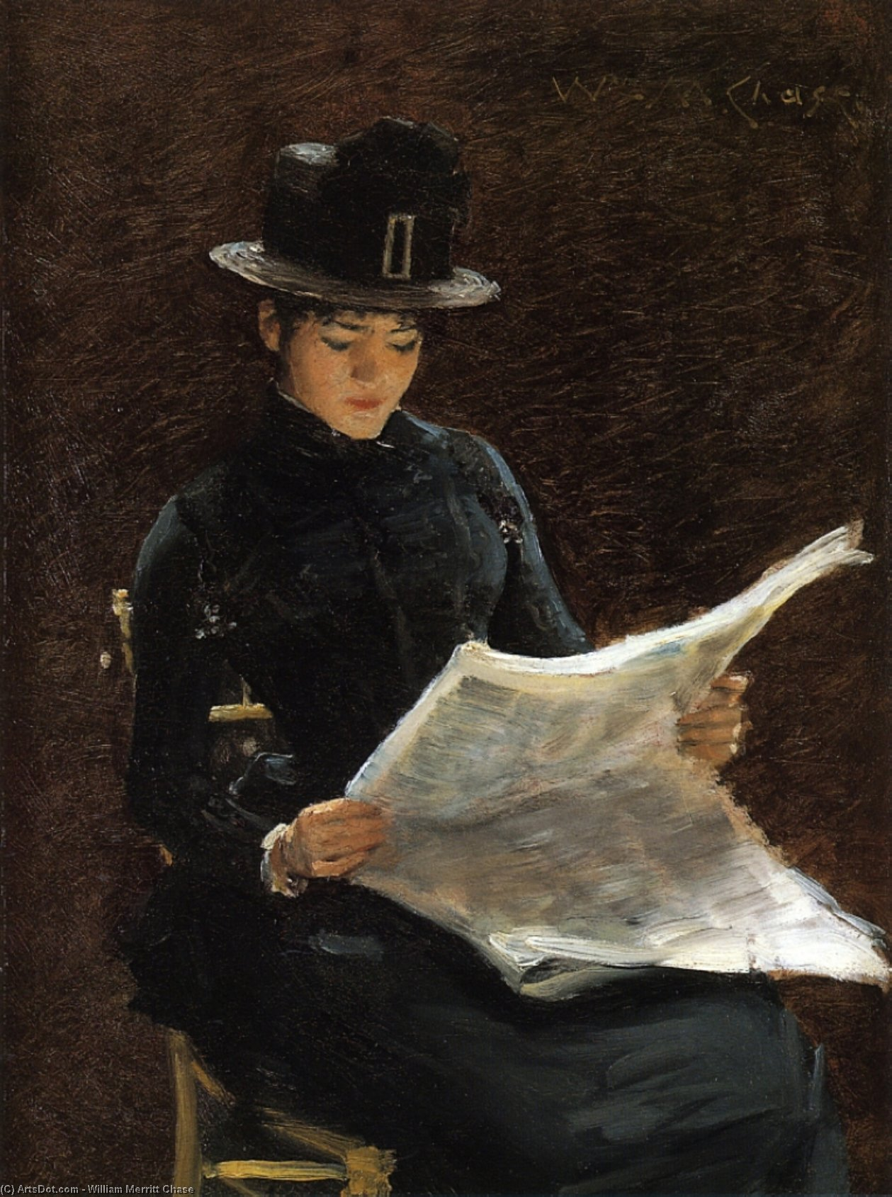 Le Morning Nouvelles, 1886 de William Merritt Chase (1849-1916, United States) | Reproductions D'art Sur Toile | ArtsDot.com