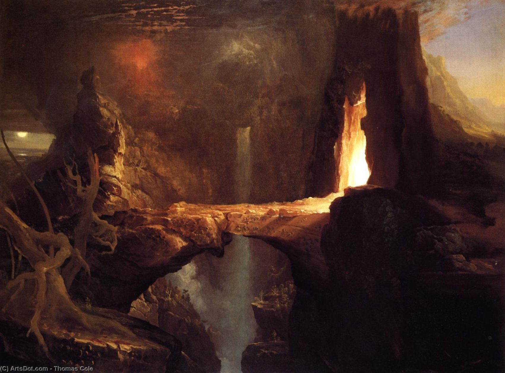 Expulsion . lune et firelight, huile sur toile de Thomas Cole (1801-1848, United Kingdom)