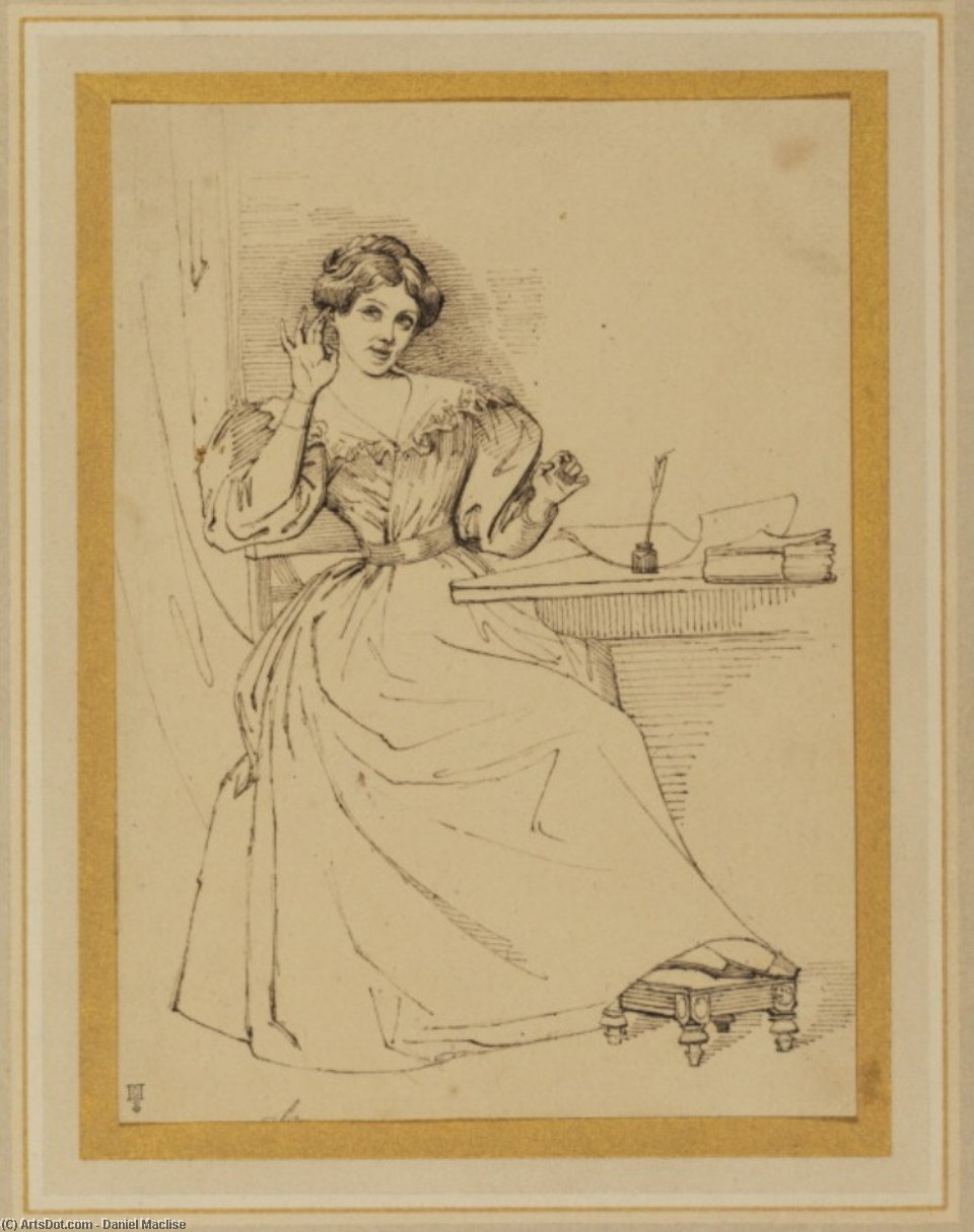 dame assis à un table, dessin de Daniel Maclise (1806-1870, Ireland)