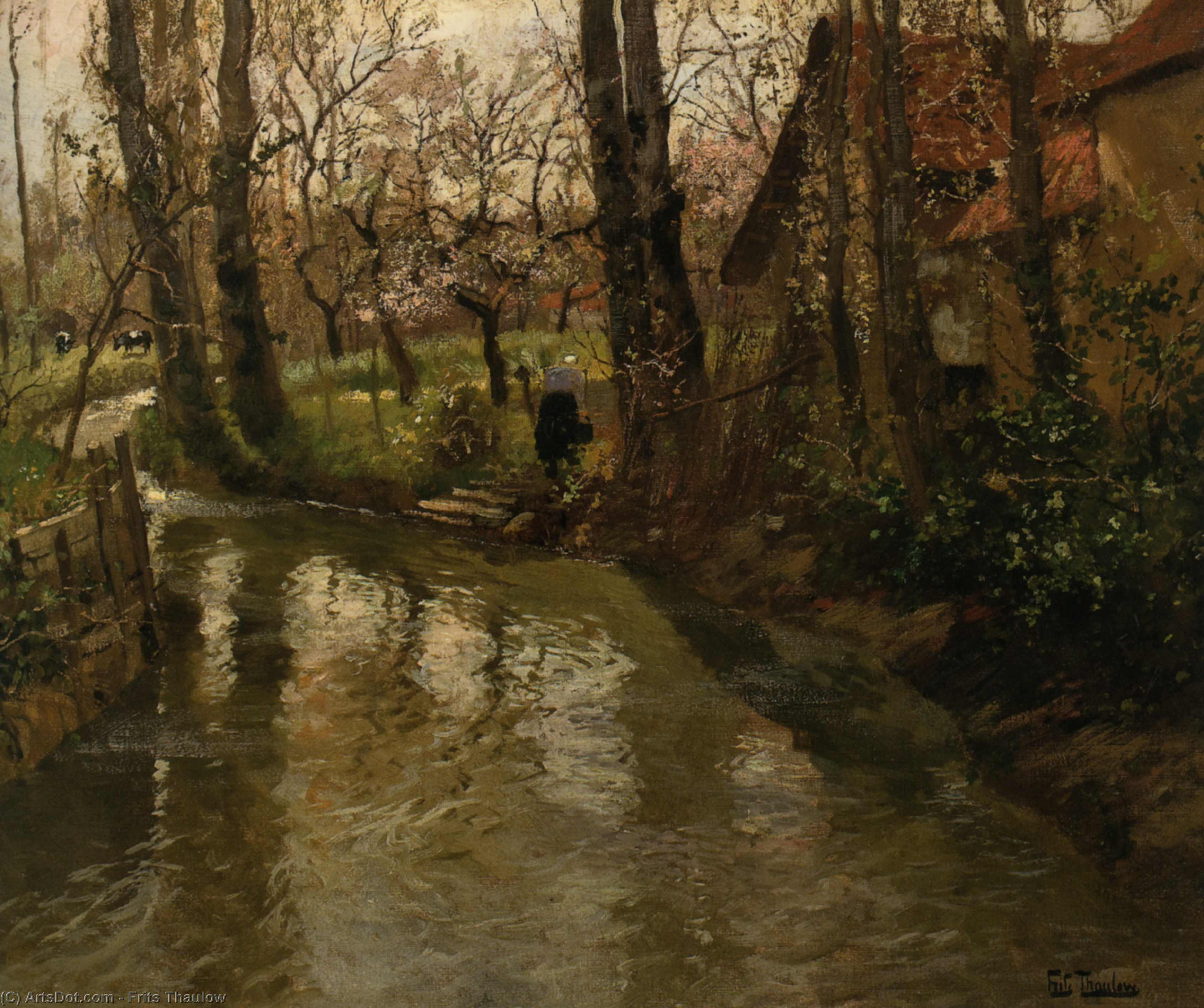 ruisseau à travers a village de Frits Thaulow (1847-1906, Norway)