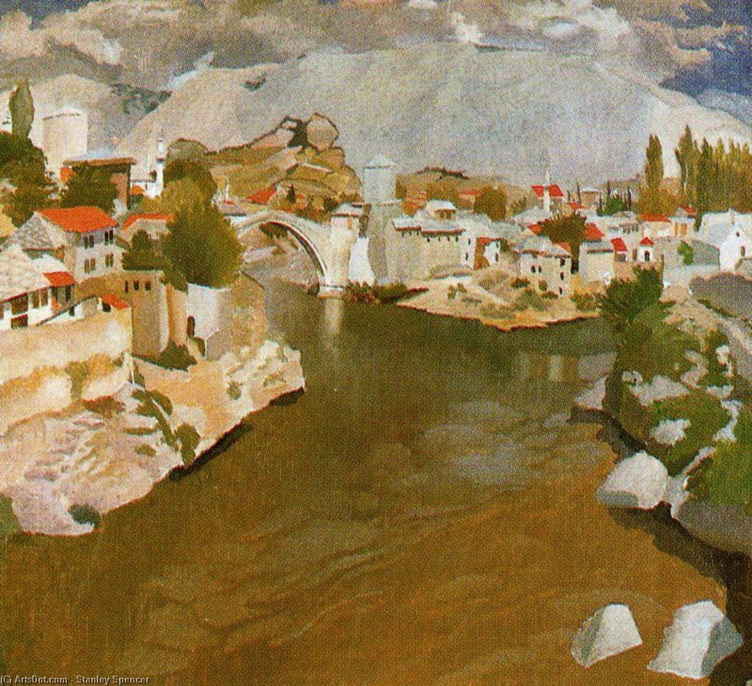 rivière nareta , Mostar de Stanley Spencer (1891-1959, United Kingdom)