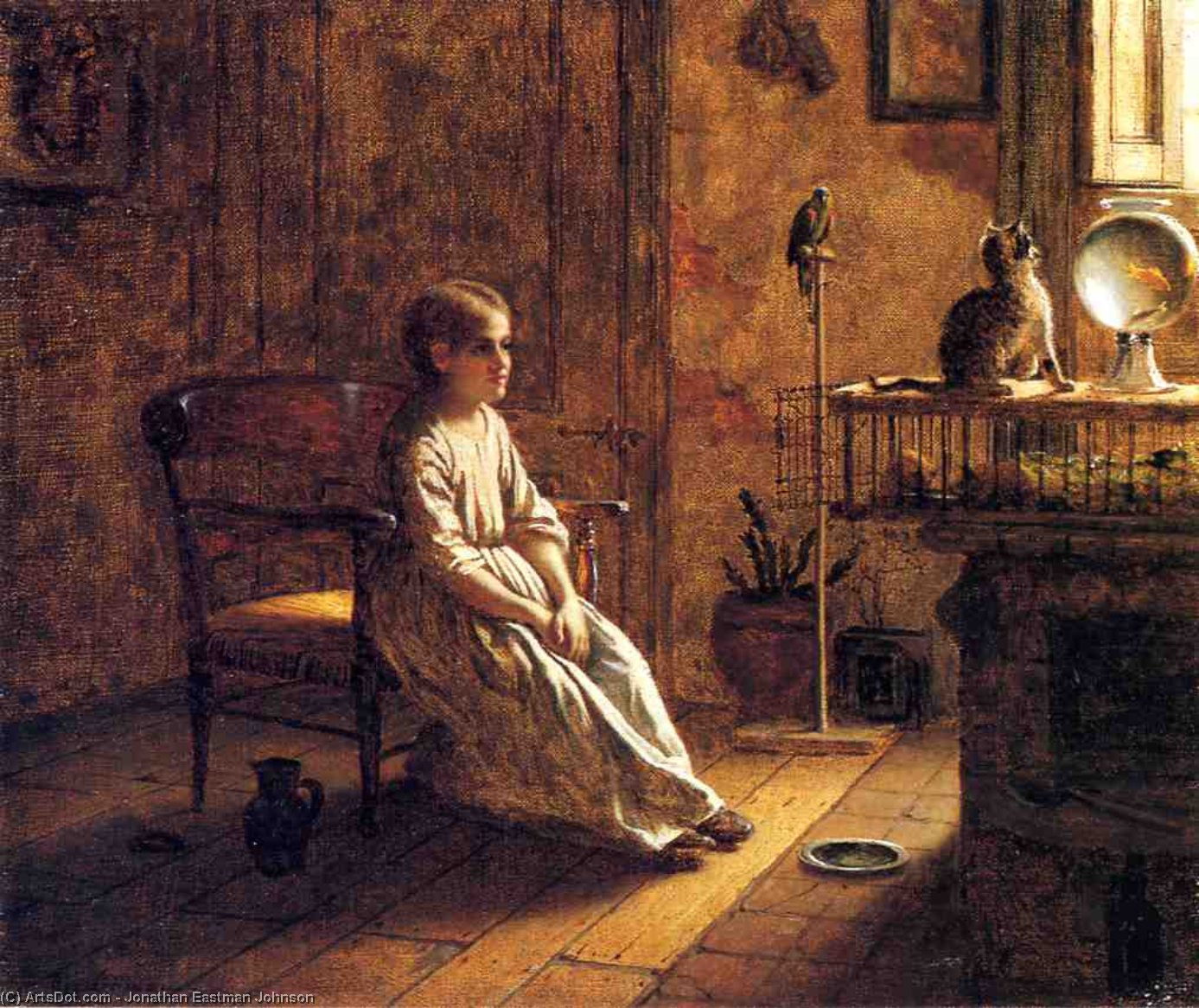 Une Child's Ménagerie, huile sur toile de Jonathan Eastman Johnson (1824-1906, United Kingdom)
