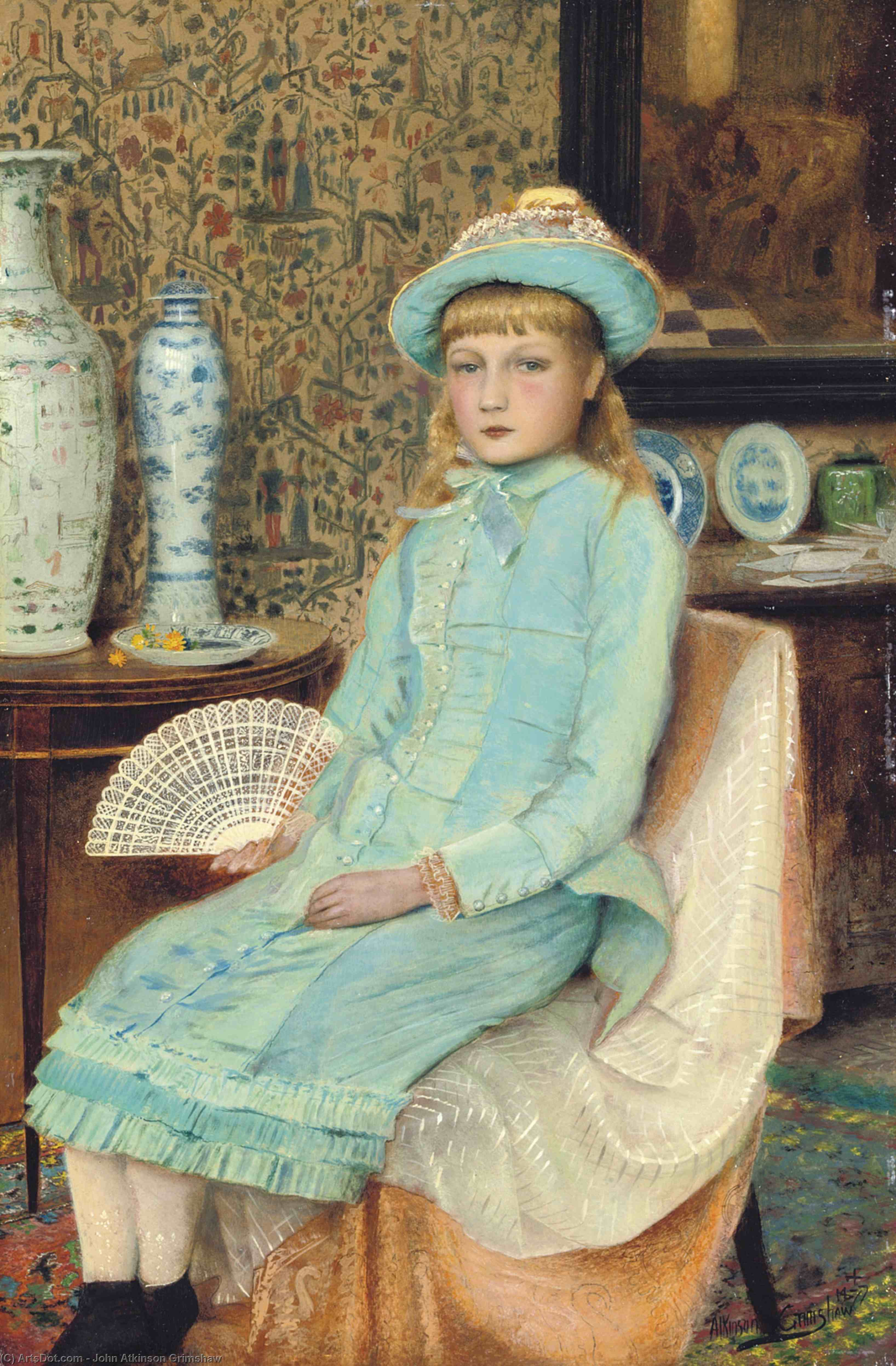 blue belle, 1877 de John Atkinson Grimshaw (1836-1893, United Kingdom)