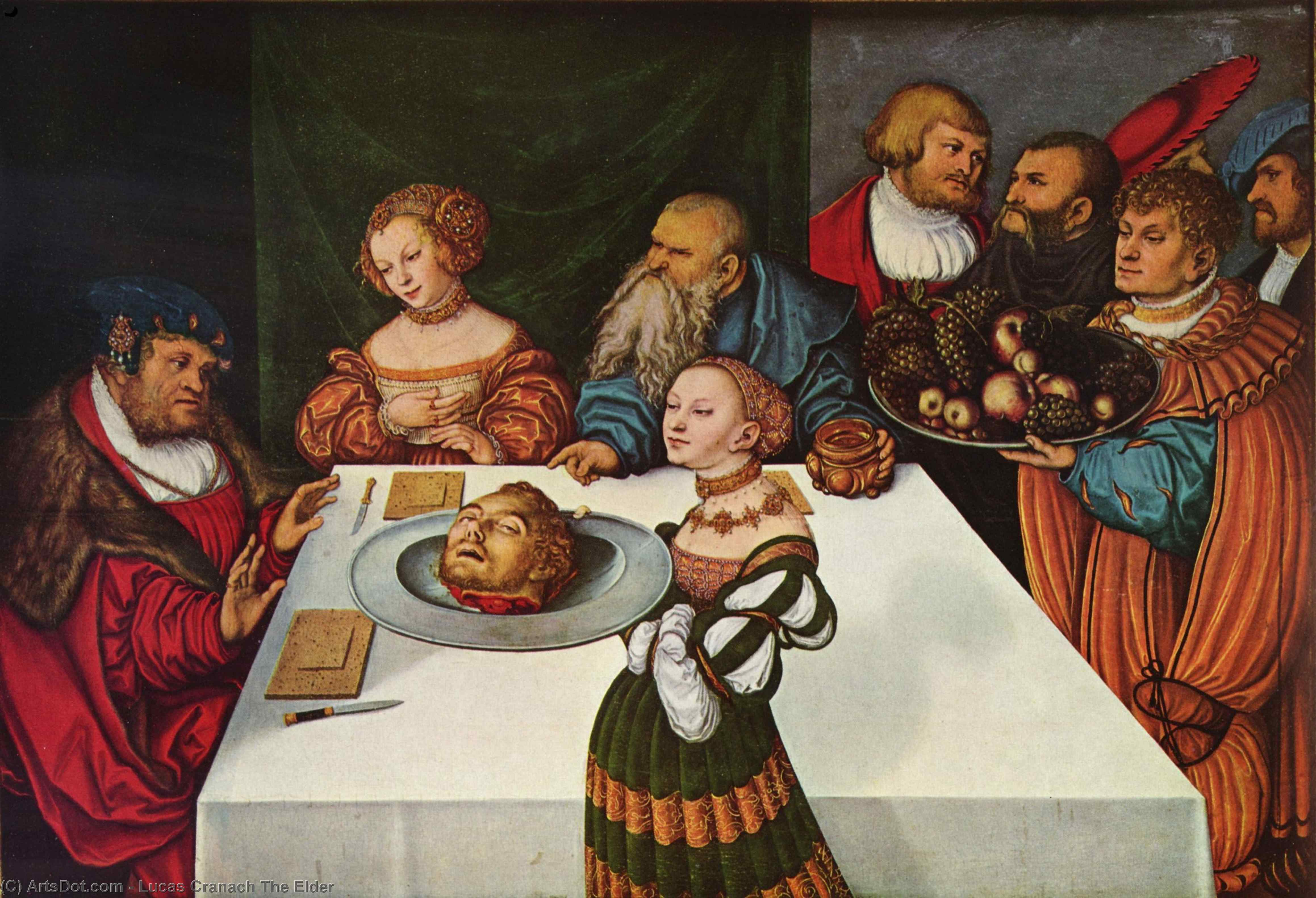 Festin d Hérode, Huile de Lucas Cranach The Elder (1472-1553, Germany)