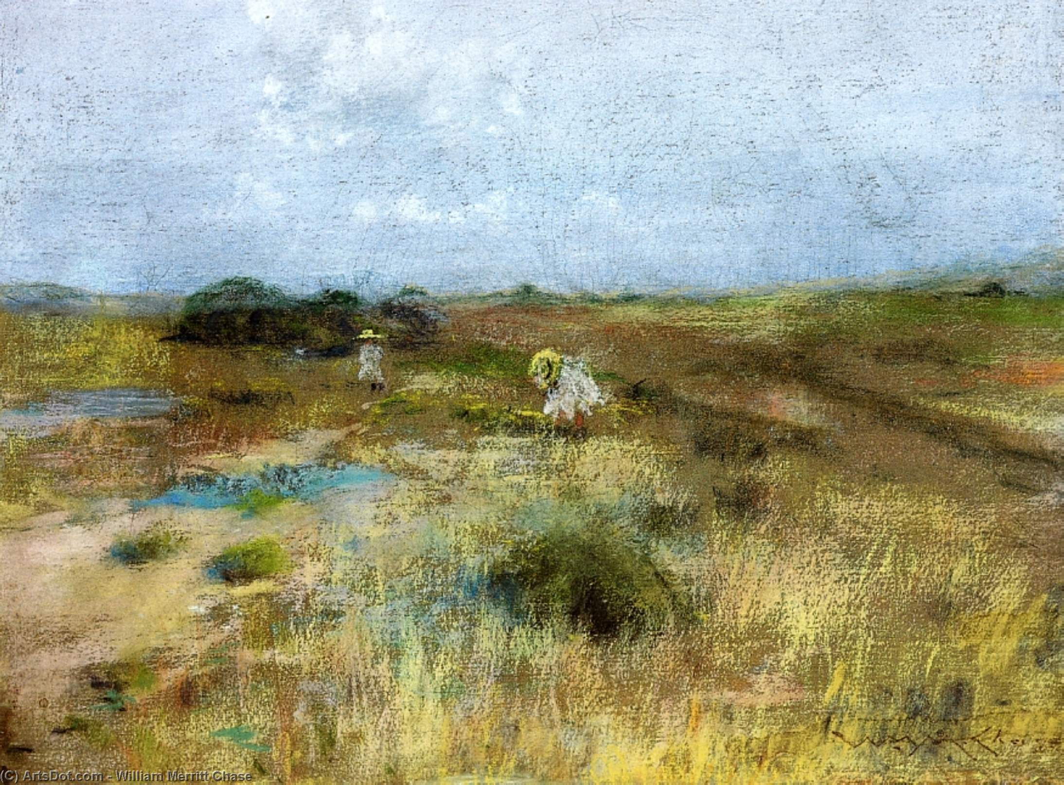octobre, Pastel sec de William Merritt Chase (1849-1916, United States)