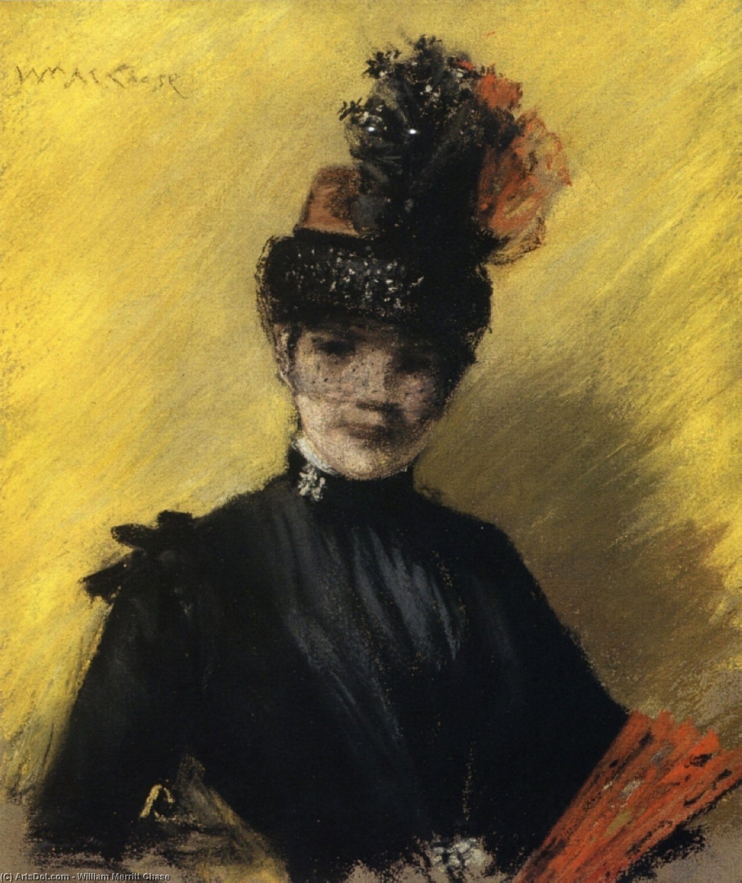 Étude des noire contre yello, 1886 de William Merritt Chase (1849-1916, United States)