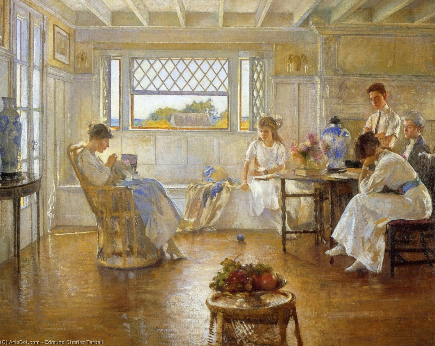 Ma famille, huile sur toile de Edmund Charles Tarbell (1862-1938, United States)