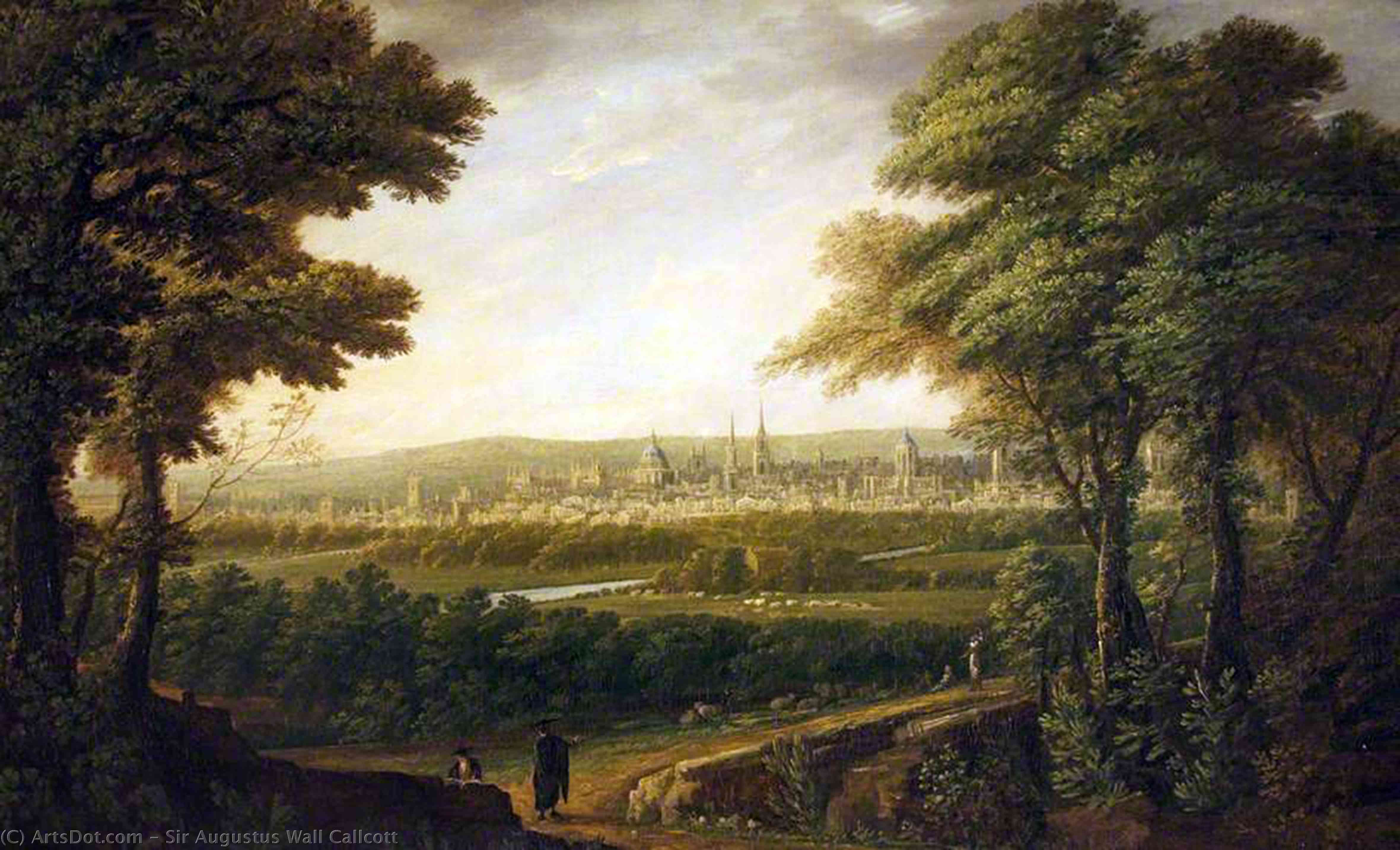 un vaste vue  de  oxford de elsfield  de Augustus Wall Callcott (1779-1844, United Kingdom)