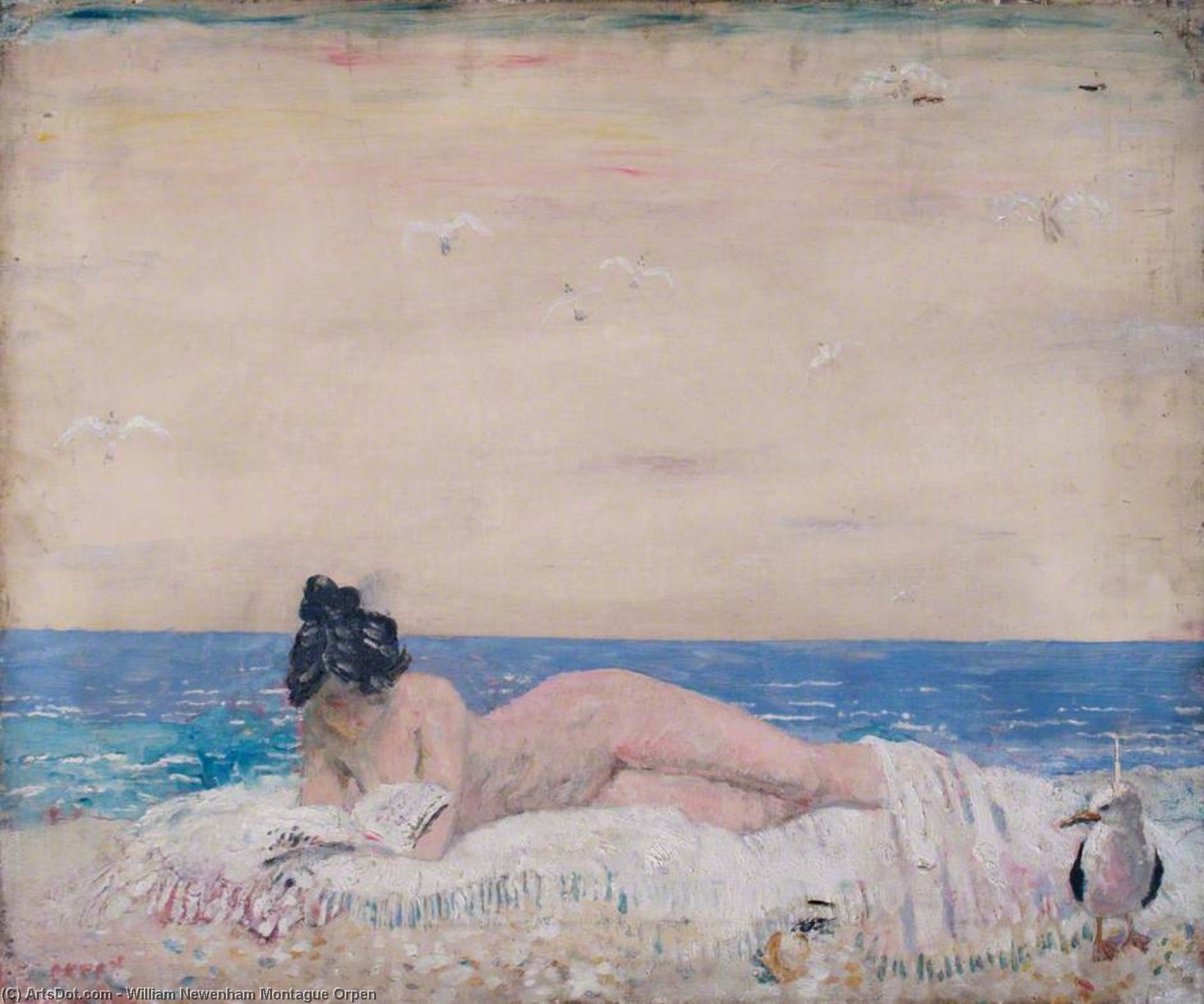 nu féminin maquette  lisant  sur  au  littoral  de William Newenham Montague Orpen (1878-1931, Ireland)