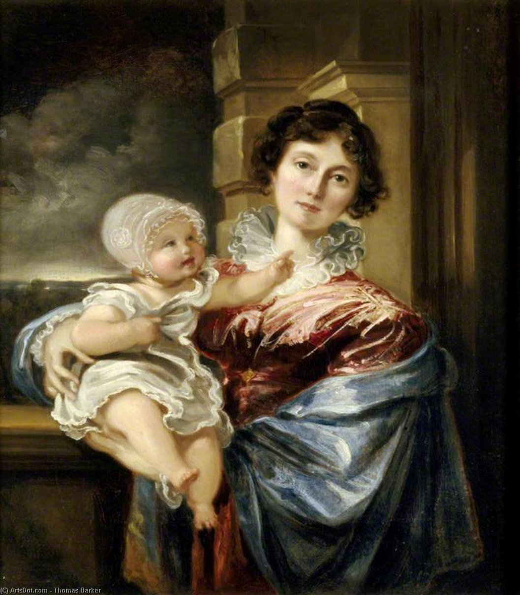 Sarah Forgeron , lady elton , et son fils edmund william elton de Thomas Barker (1769-1847, United States)