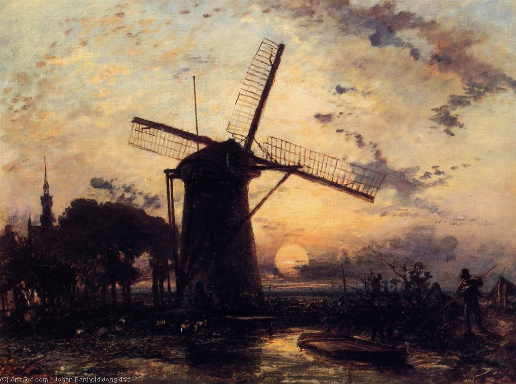 Boatman par un Windmill at Sundown de Johan Barthold Jongkind (1819-1891, Netherlands)