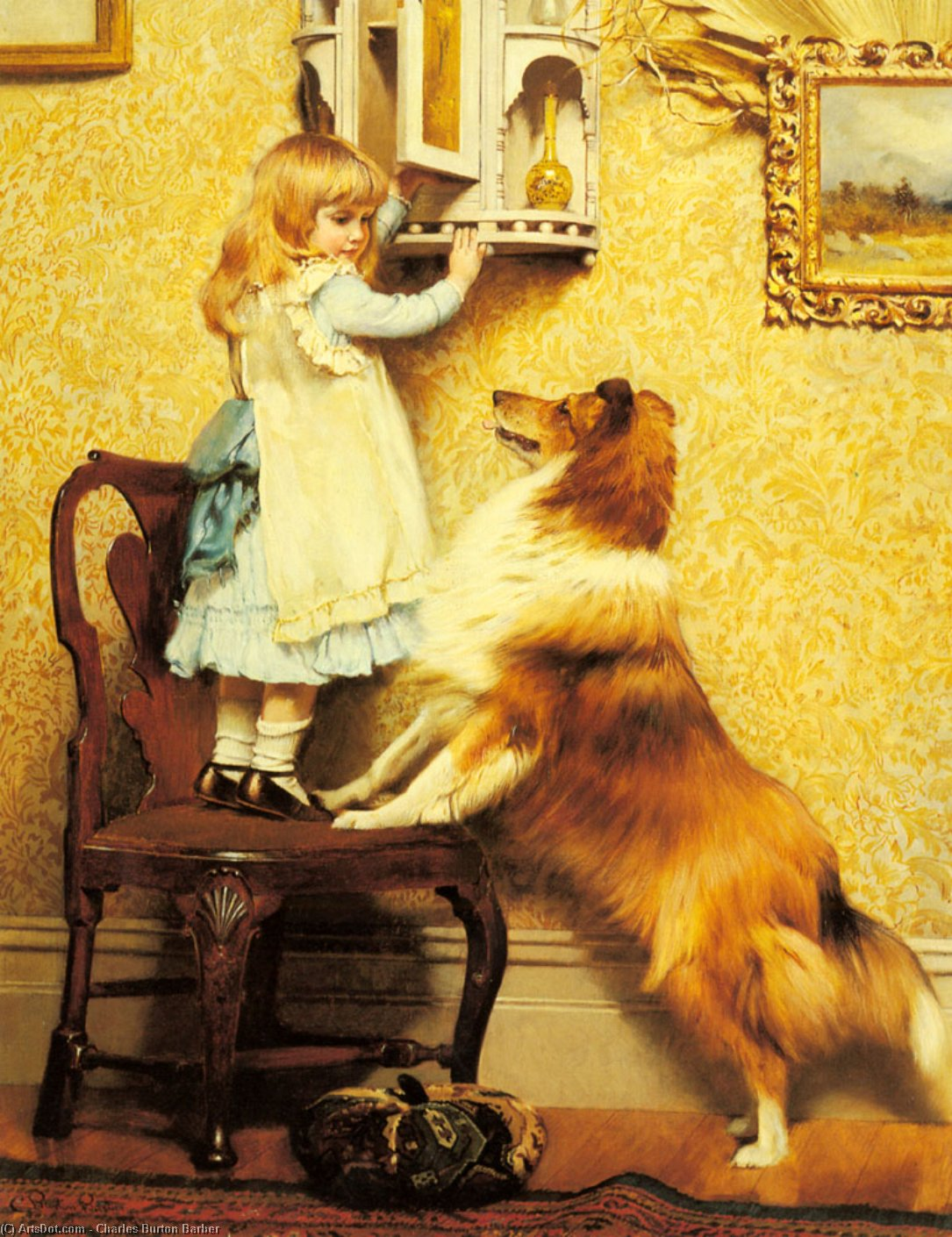 a peu fille et son Sheltie de Charles Burton Barber (1845-1894, United Kingdom)