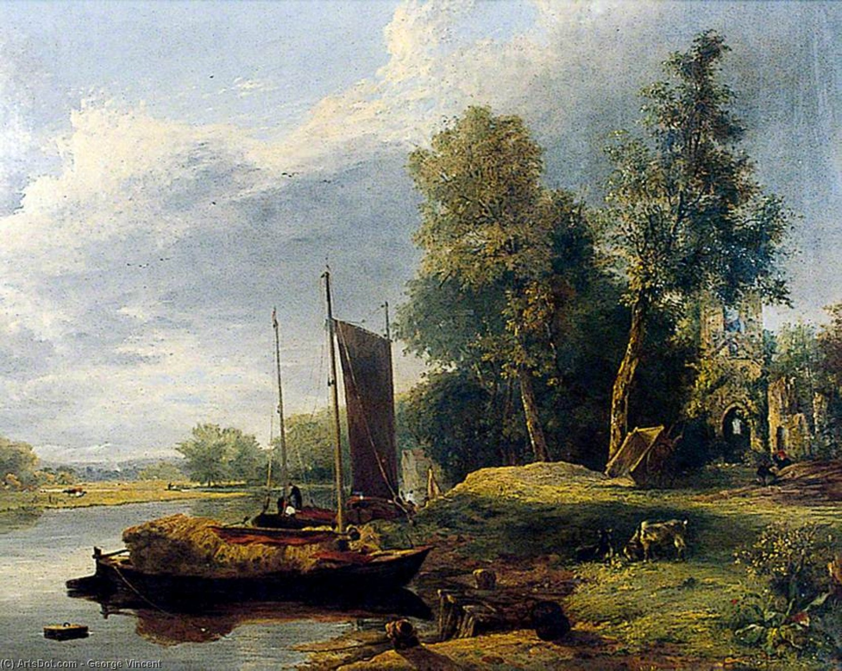 sur la rivière Yare , Norfolk de George Vincent (1796-1831, United Kingdom)