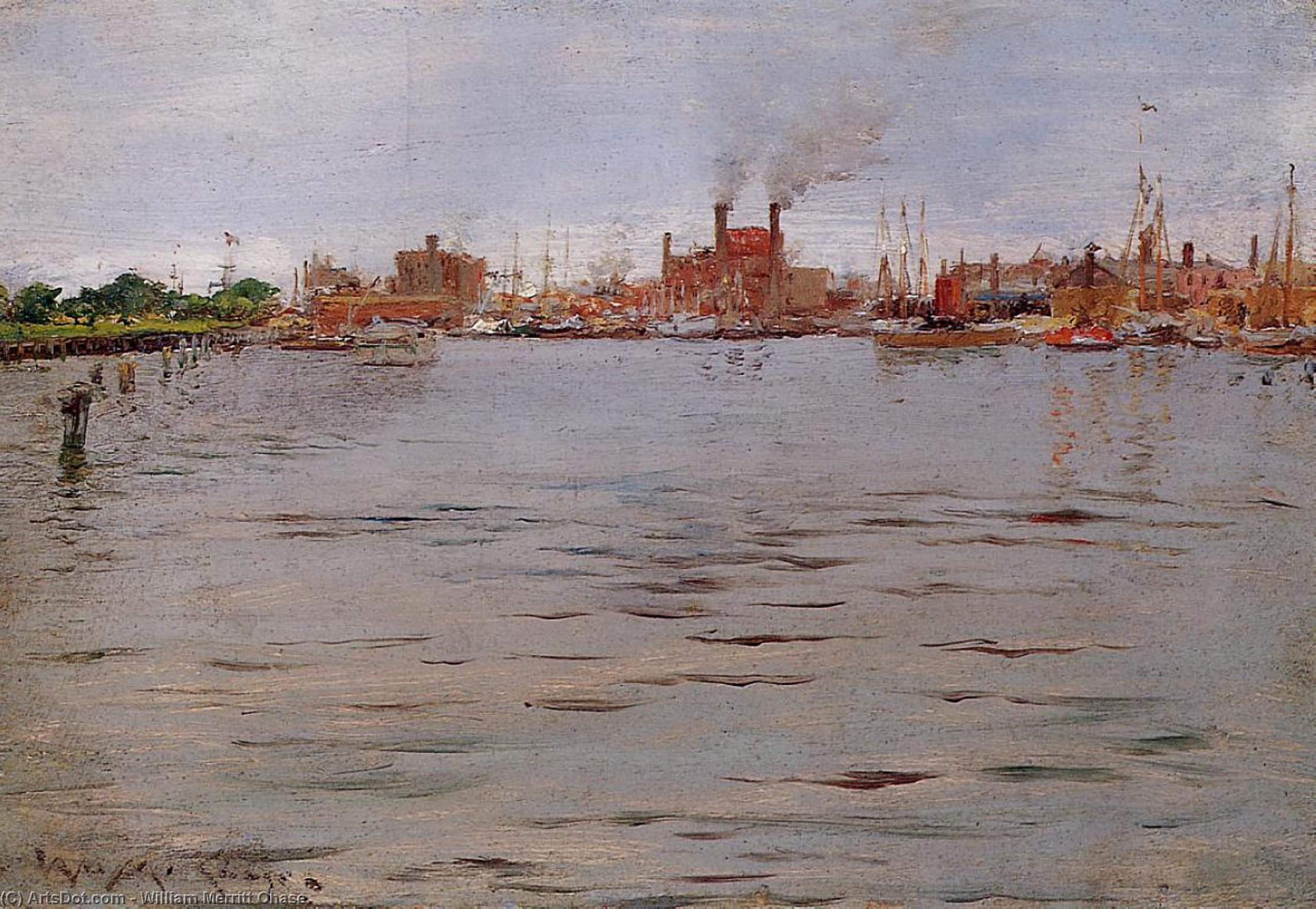 Port Scène Docks Brooklyn , 1886 de William Merritt Chase (1849-1916, United States)