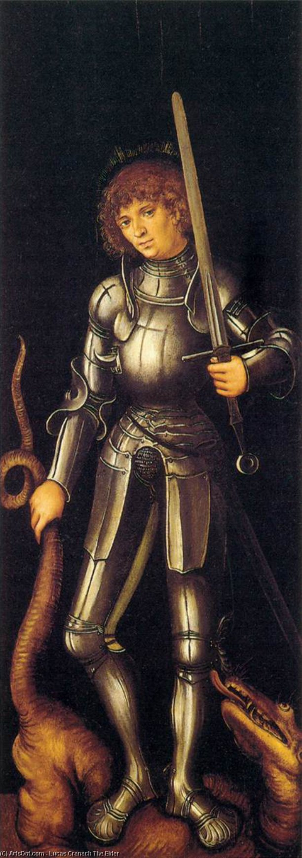 St . George, Huile de Lucas Cranach The Elder (1472-1553, Germany)
