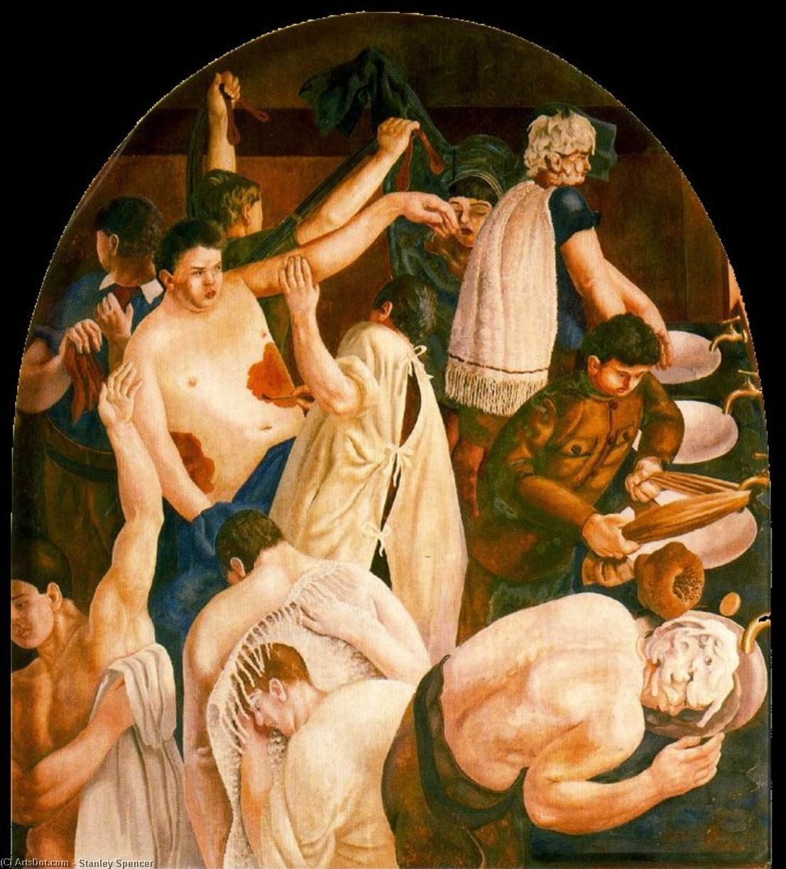 Ablutions de Stanley Spencer (1891-1959, United Kingdom) | Reproductions De Qualité Musée | ArtsDot.com