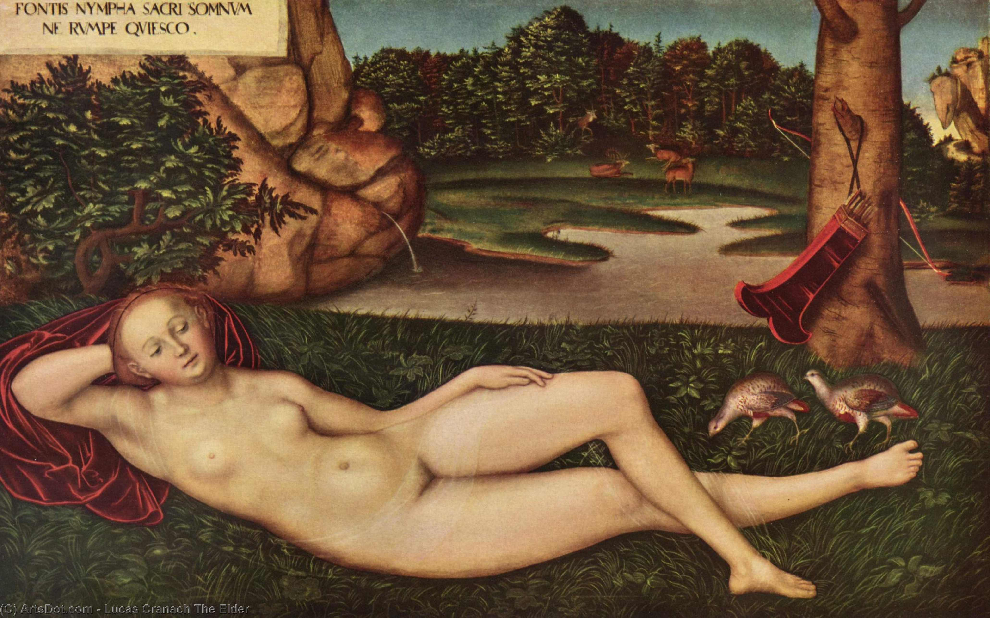 Endormi Nymphe  de  au  printanières , Huile de Lucas Cranach The Elder (1472-1553, Germany)