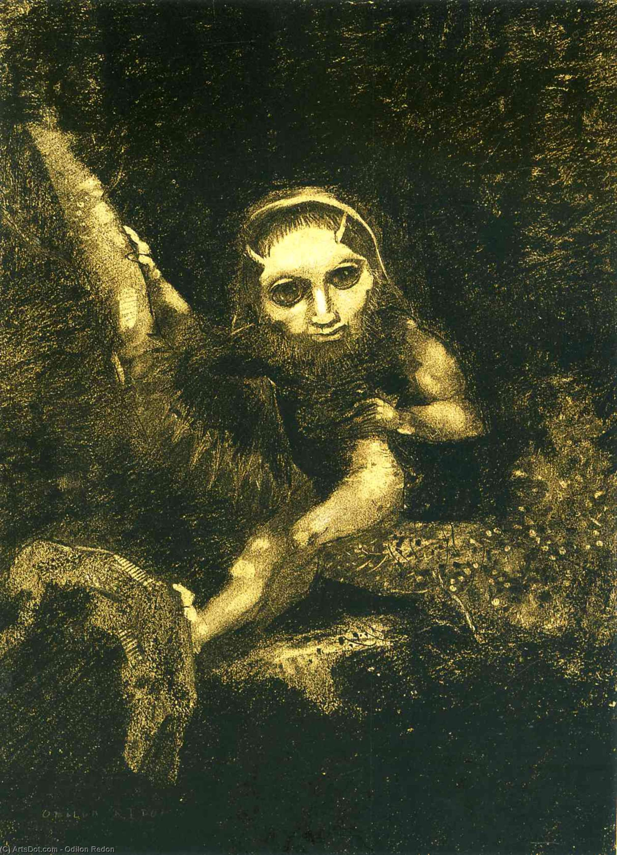 Caliban sur une direction, 1881 de Odilon Redon (1840-1916, France) | Reproductions D'art Sur Toile | ArtsDot.com